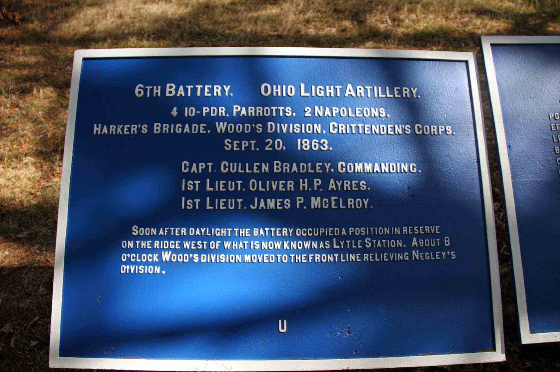 6th Battery Ohio Light Artillery Plaque, click photo to enlarge.