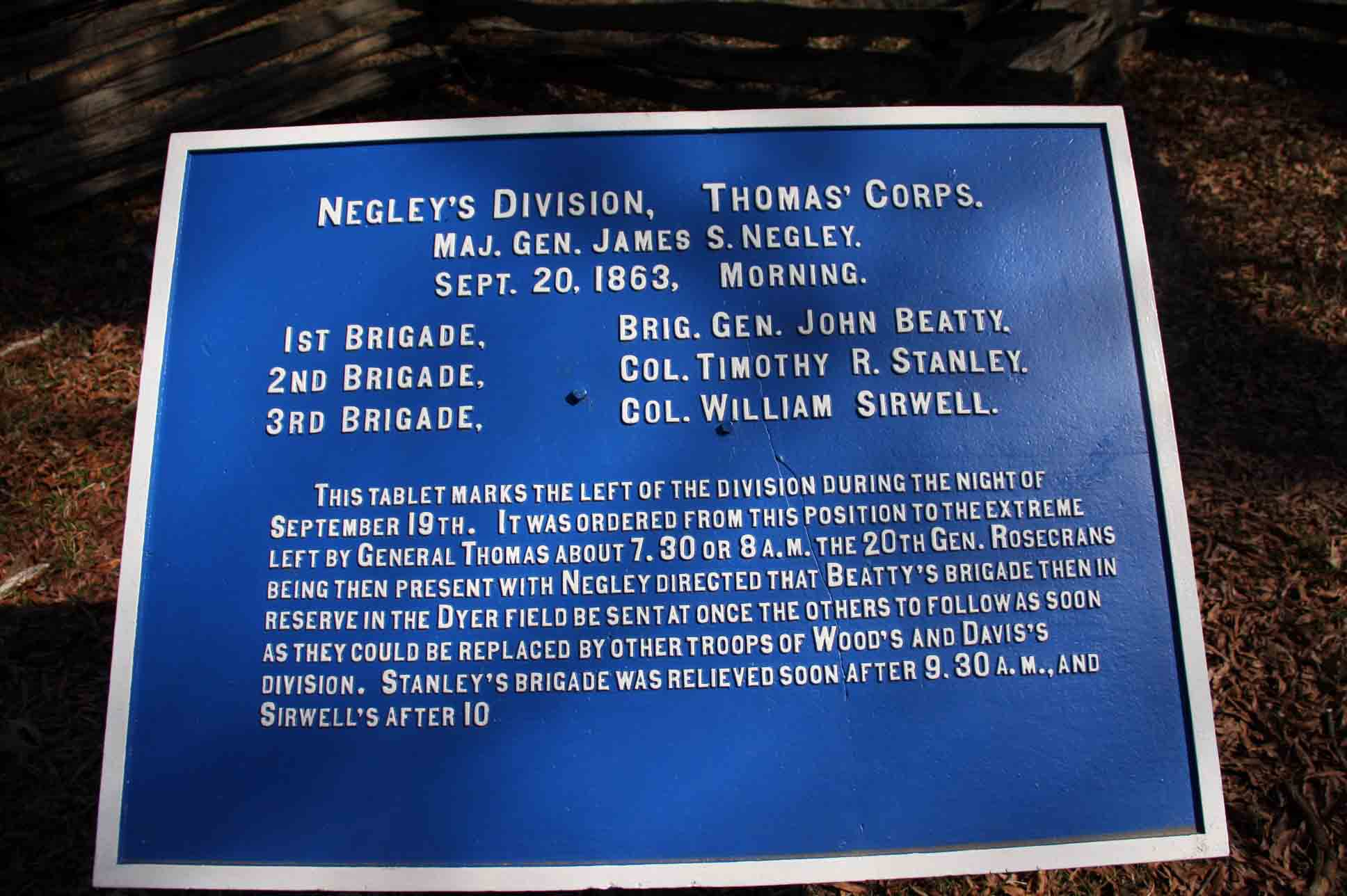 Negley's Division Plaque, click photo to enlarge.