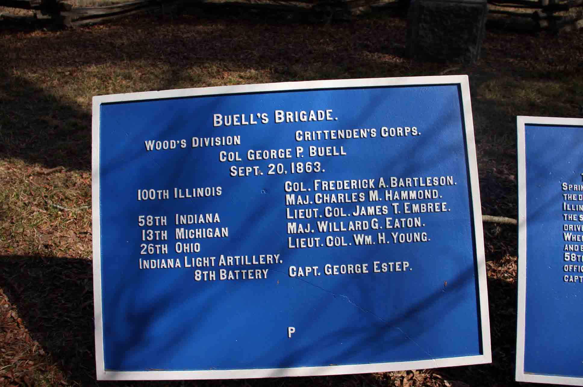 Buell's Brigade Plaque, click photo to enlarge.