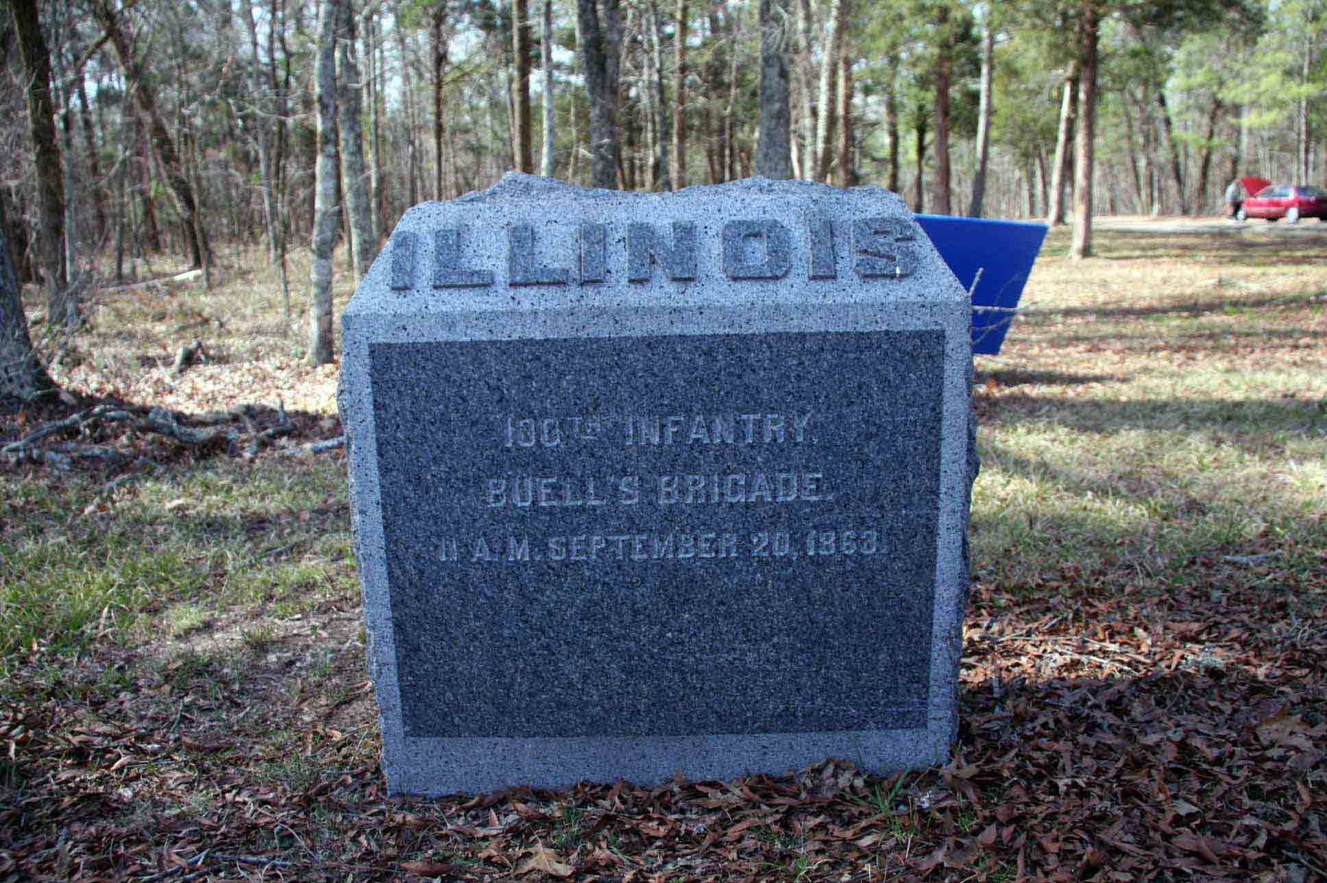 100th Illinois Infantry Regiment Marker, click photo to enlarge.