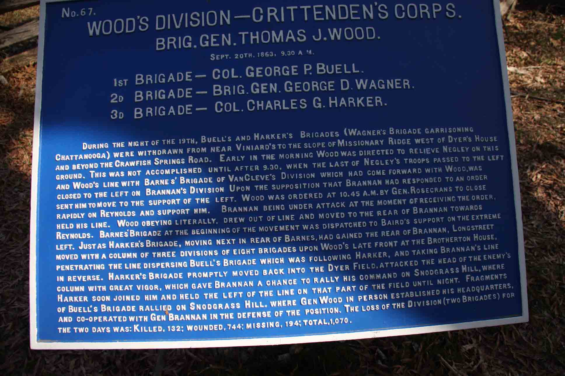 Wood's Division Plaque, click photo to enlarge.