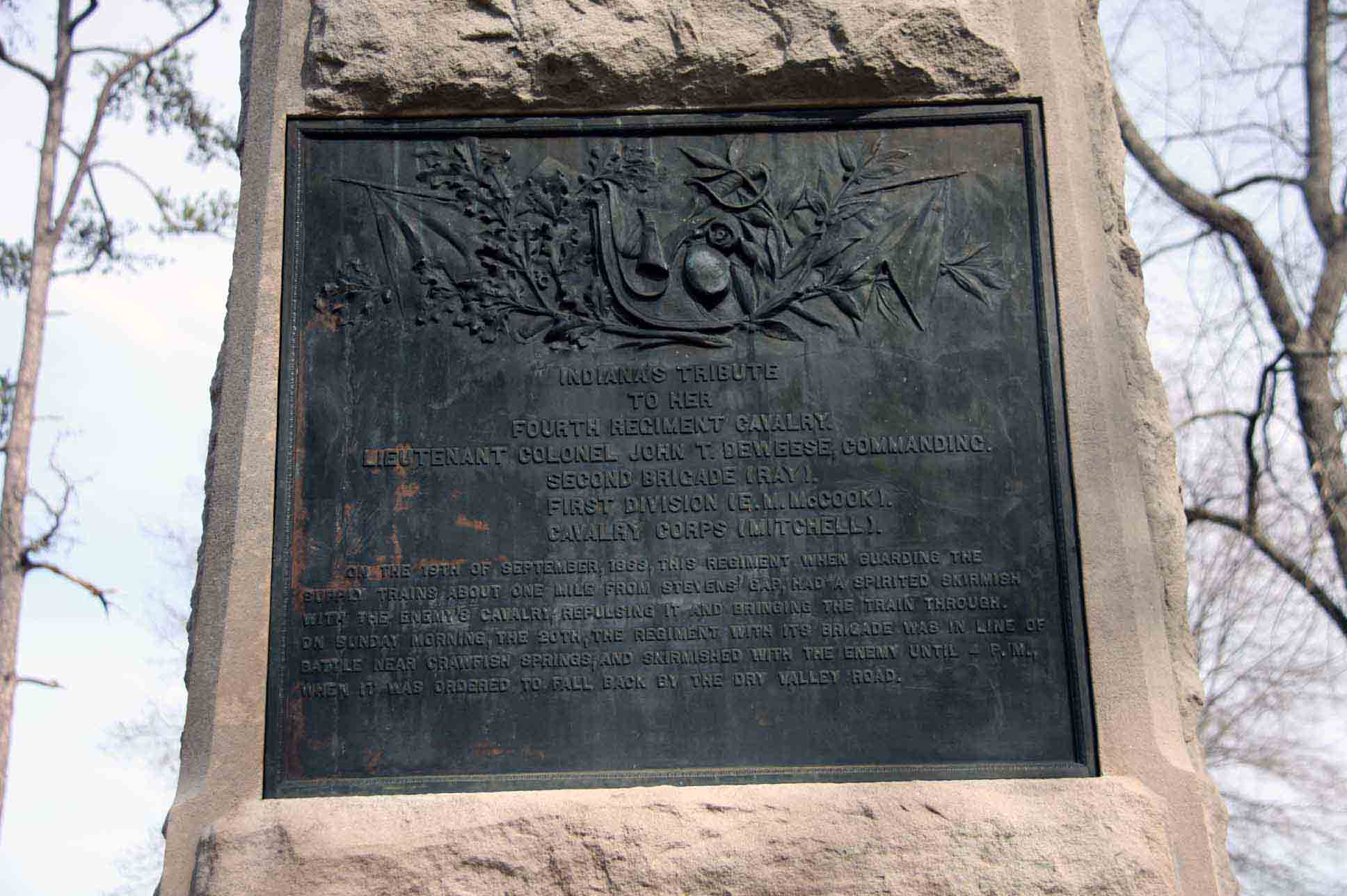 4th Regiment Indiana Cavalry Monument, click photo to enlarge.