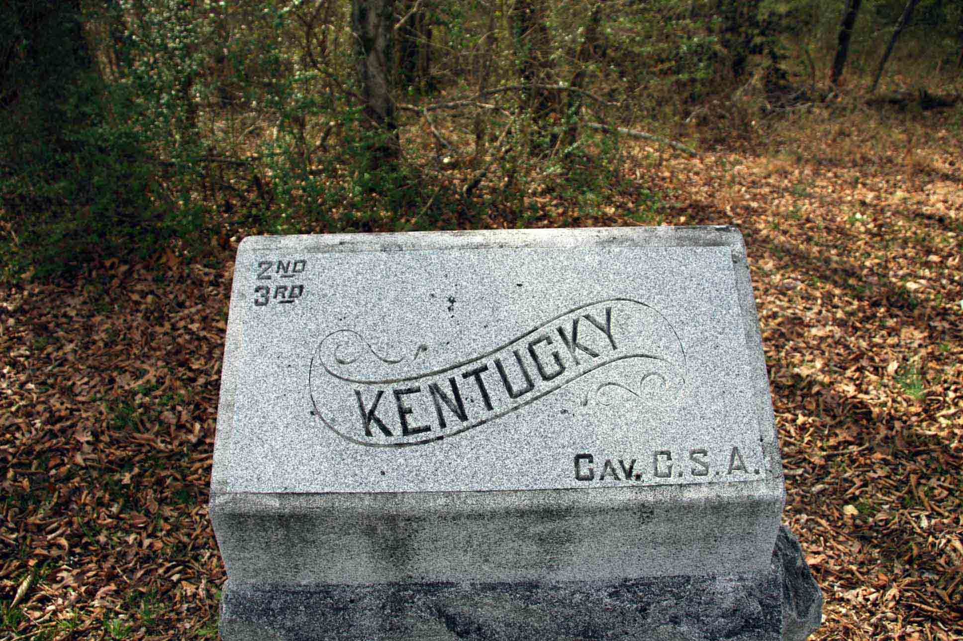 2nd & 3rd Kentucky Cavalry (CSA) Marker, click photo to enlarge.