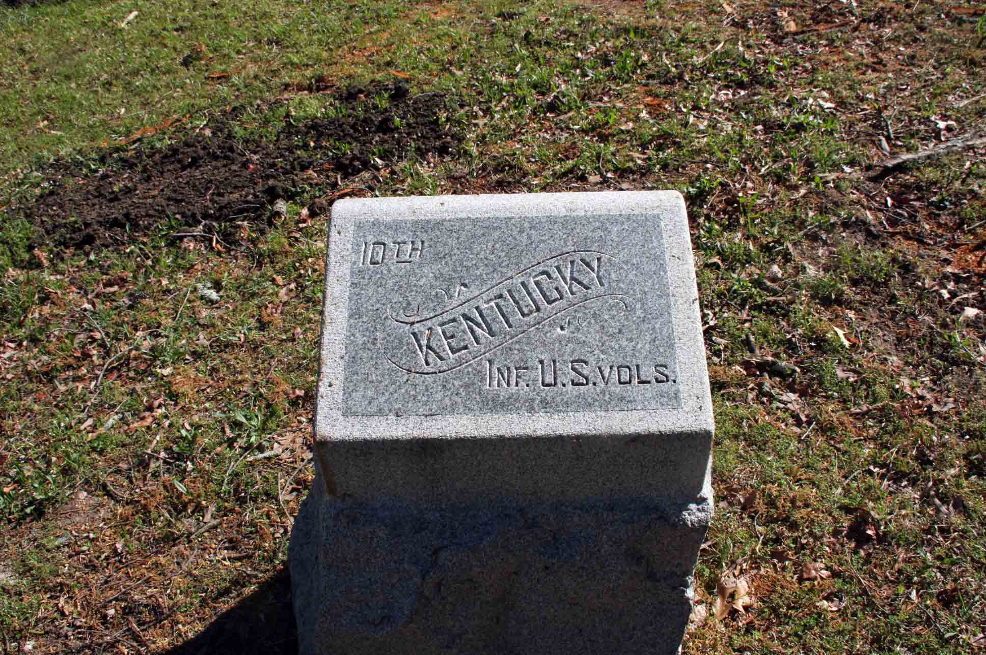 10th Kentucky Infantry Regiment (US Vols) Marker, click photo to enlarge.