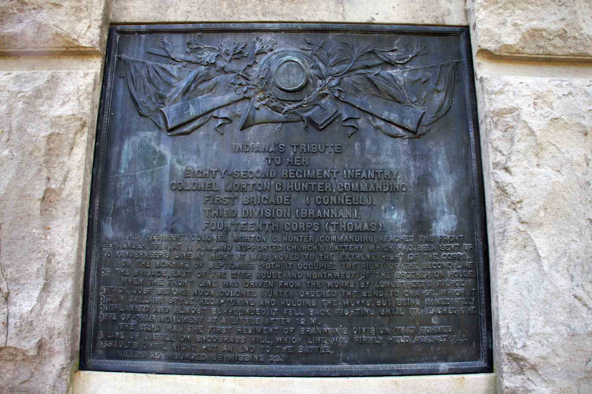 82nd Indiana Infantry Regiment Monument, click photo to enlarge.