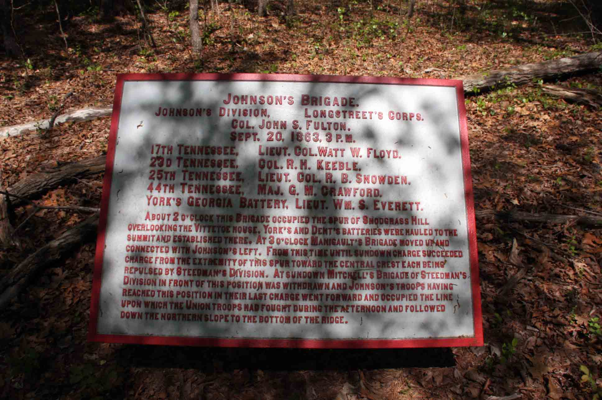 Johnson's Brigade Plaque, click photo to enlarge.