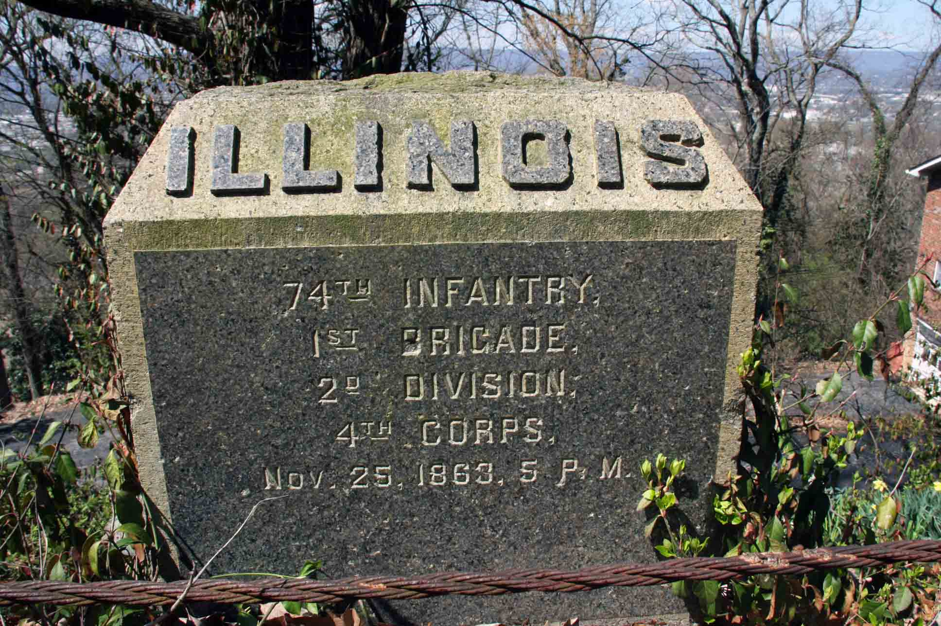 74th Illinois Infantry Regiment Marker, click photo to enlarge.