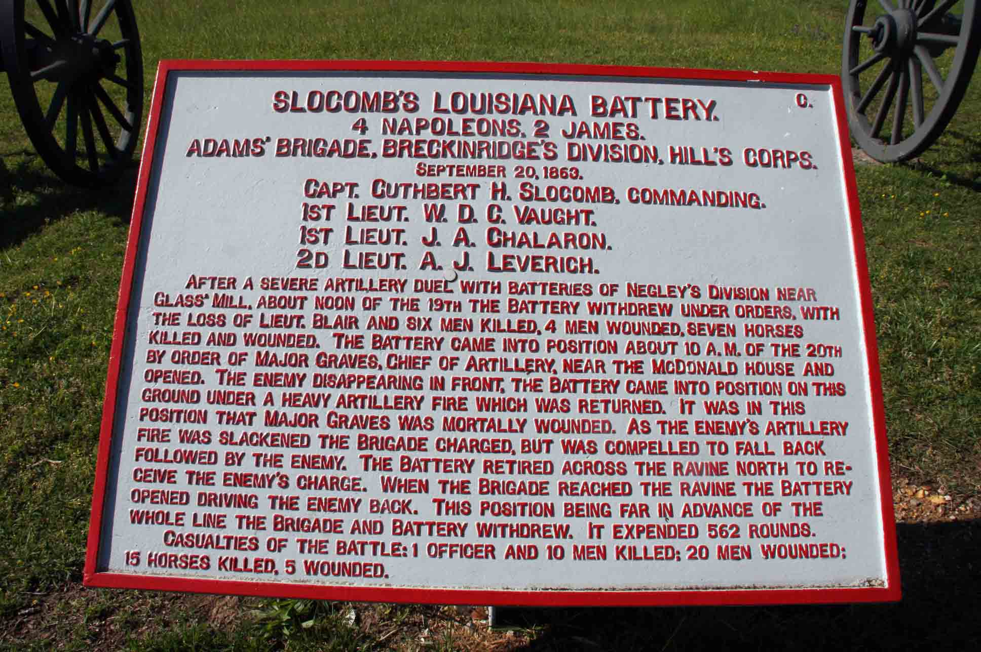 Slocomb's Louisiana Battery Plaque, click photo to enlarge.