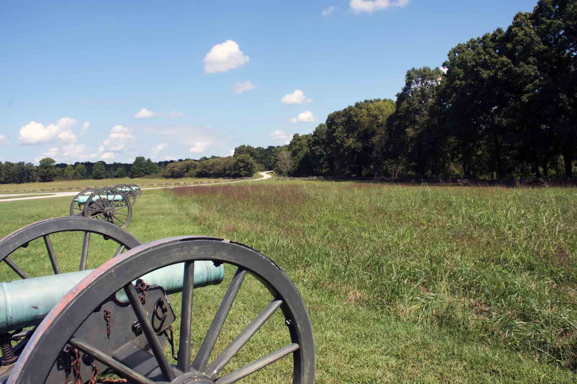 Line of cannons located at tour stop 4, click photo to enlarge.