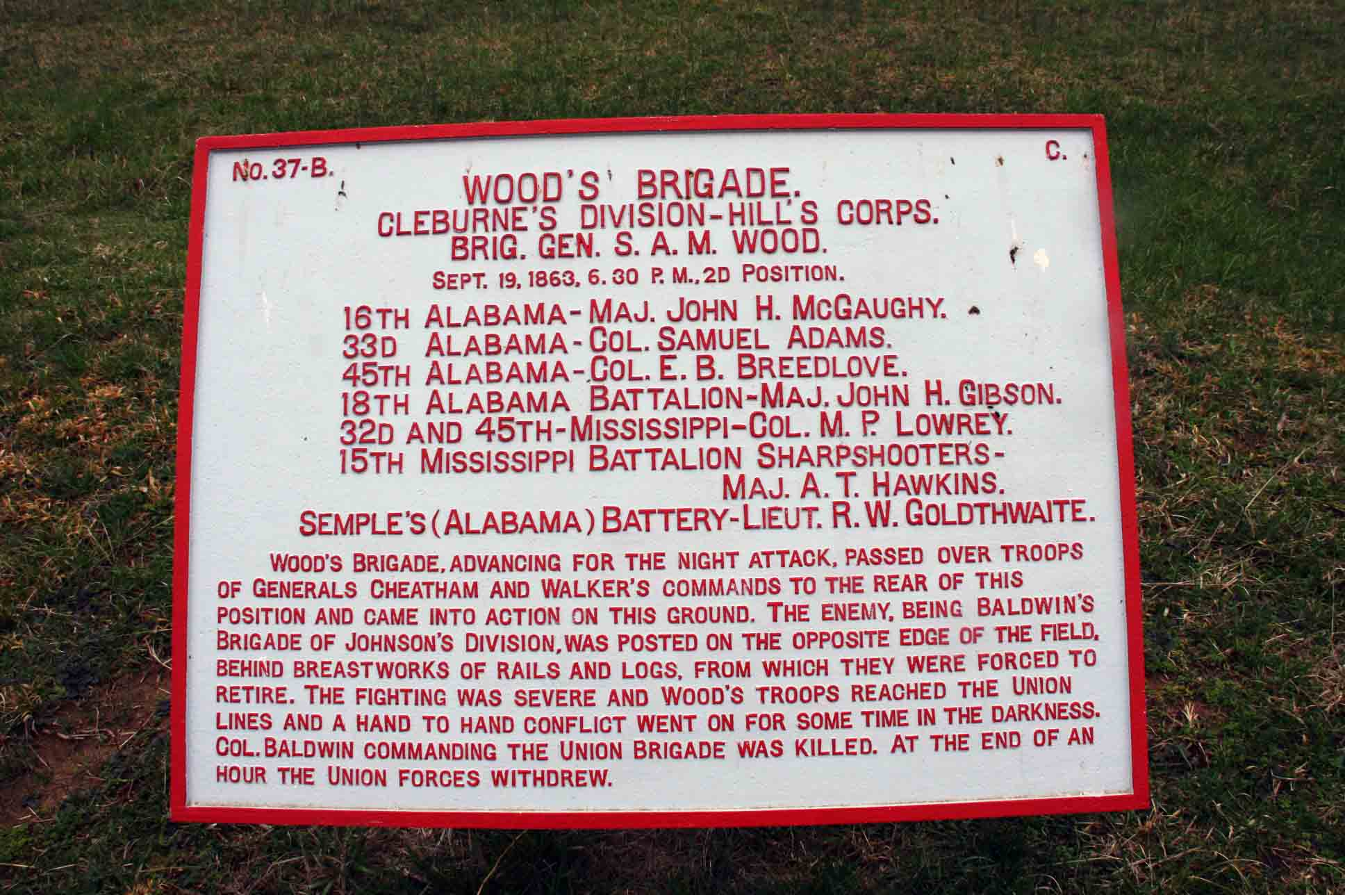 Wood's Brigade Plaque, click photo to enlarge.