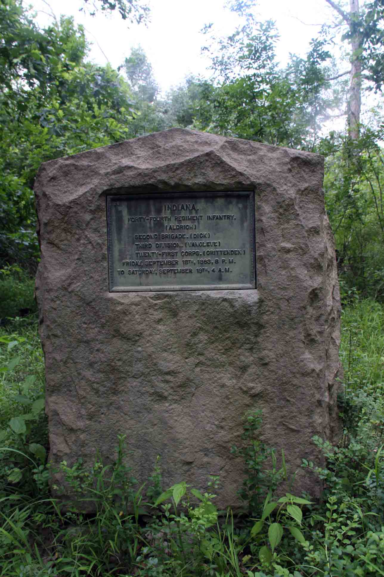 44th Indiana Infantry Regiment Marker, click photo to enlarge.