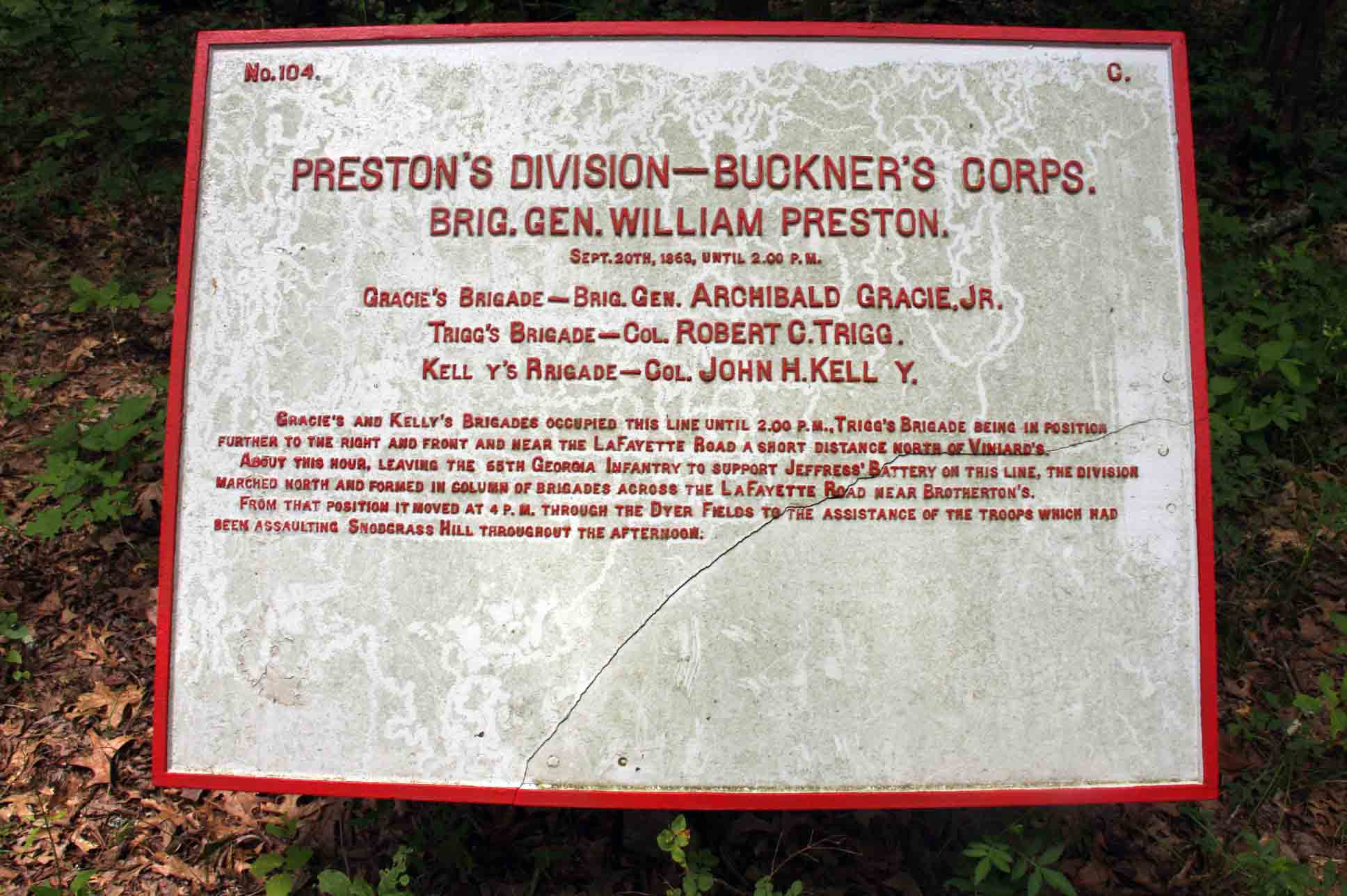Preston's Division – Buckner's Corps Plaque, click photo to enlarge.