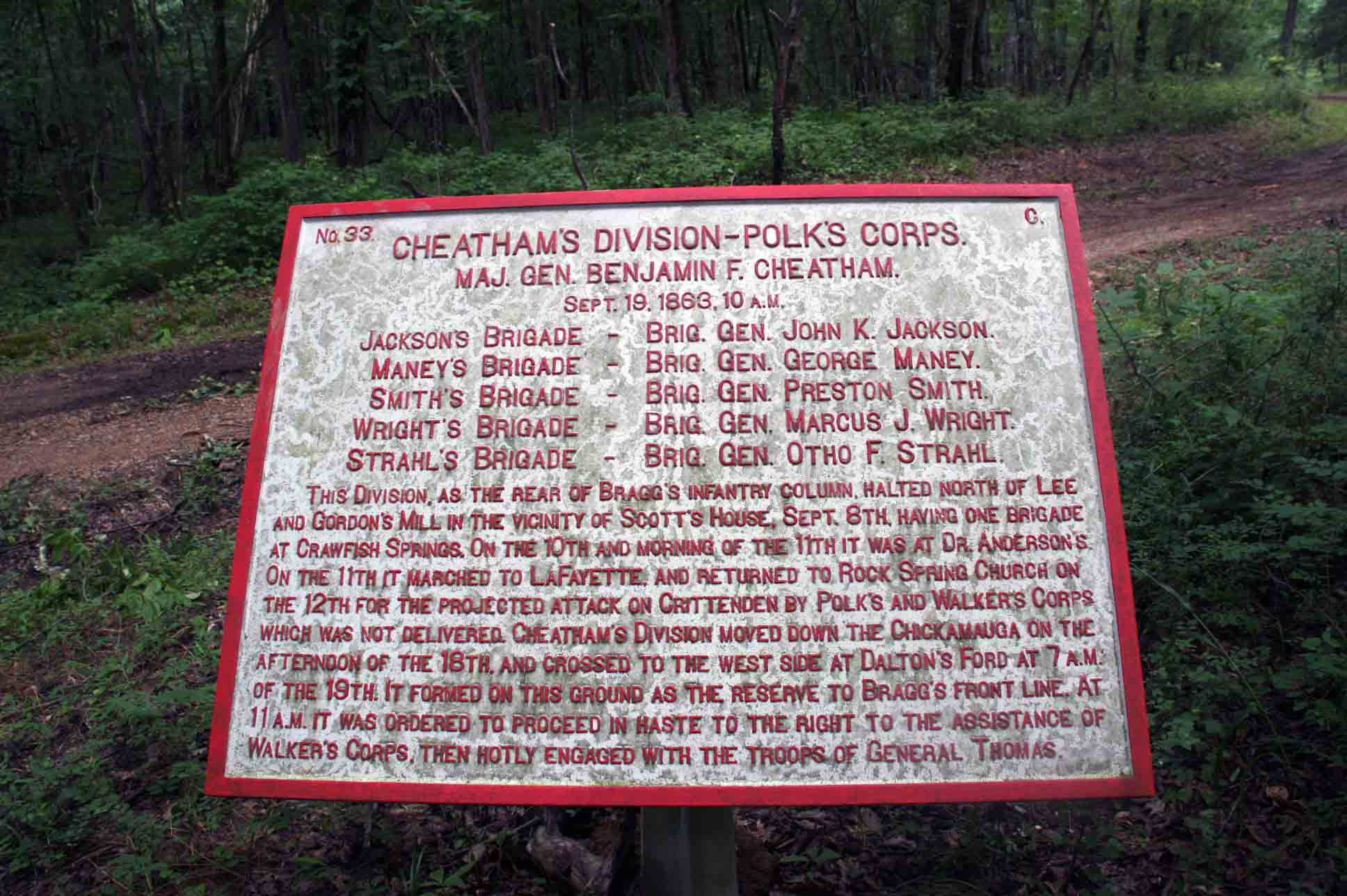 Cheatham's Division – Polk's Corps Plaque, click photo to enlarge.