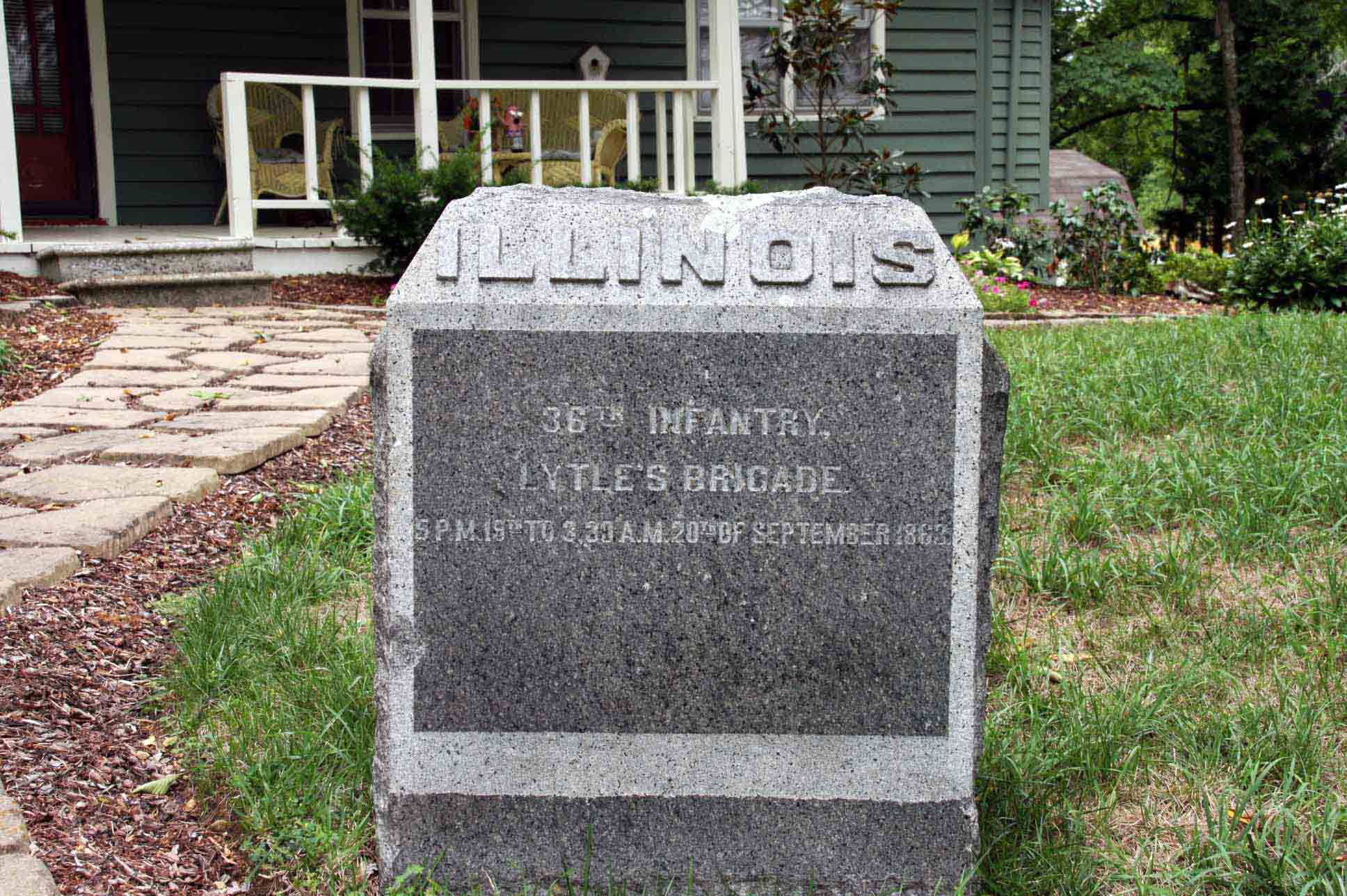 36th Illinois Infantry Regiment Marker, click photo to enlarge.
