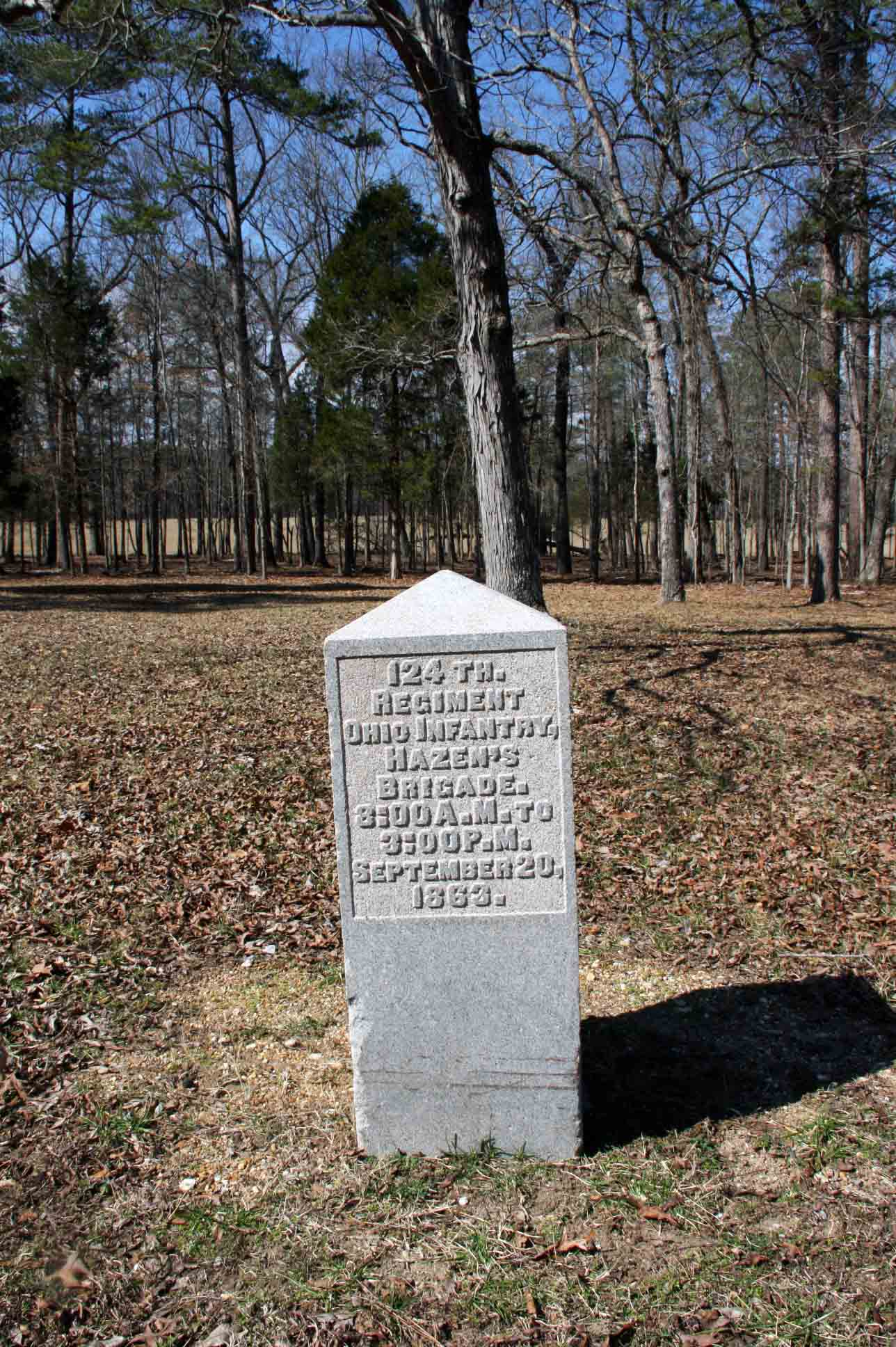 124th Ohio Infantry Regiment Marker, click photo to enlarge.