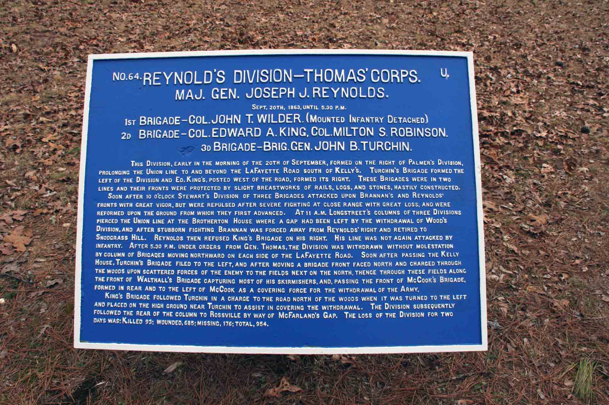 Reynold's Division Plaque, click photo to enlarge.