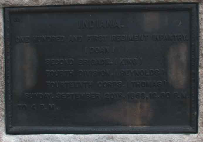 101st Indiana Infantry Regiment Marker, click photo to enlarge.