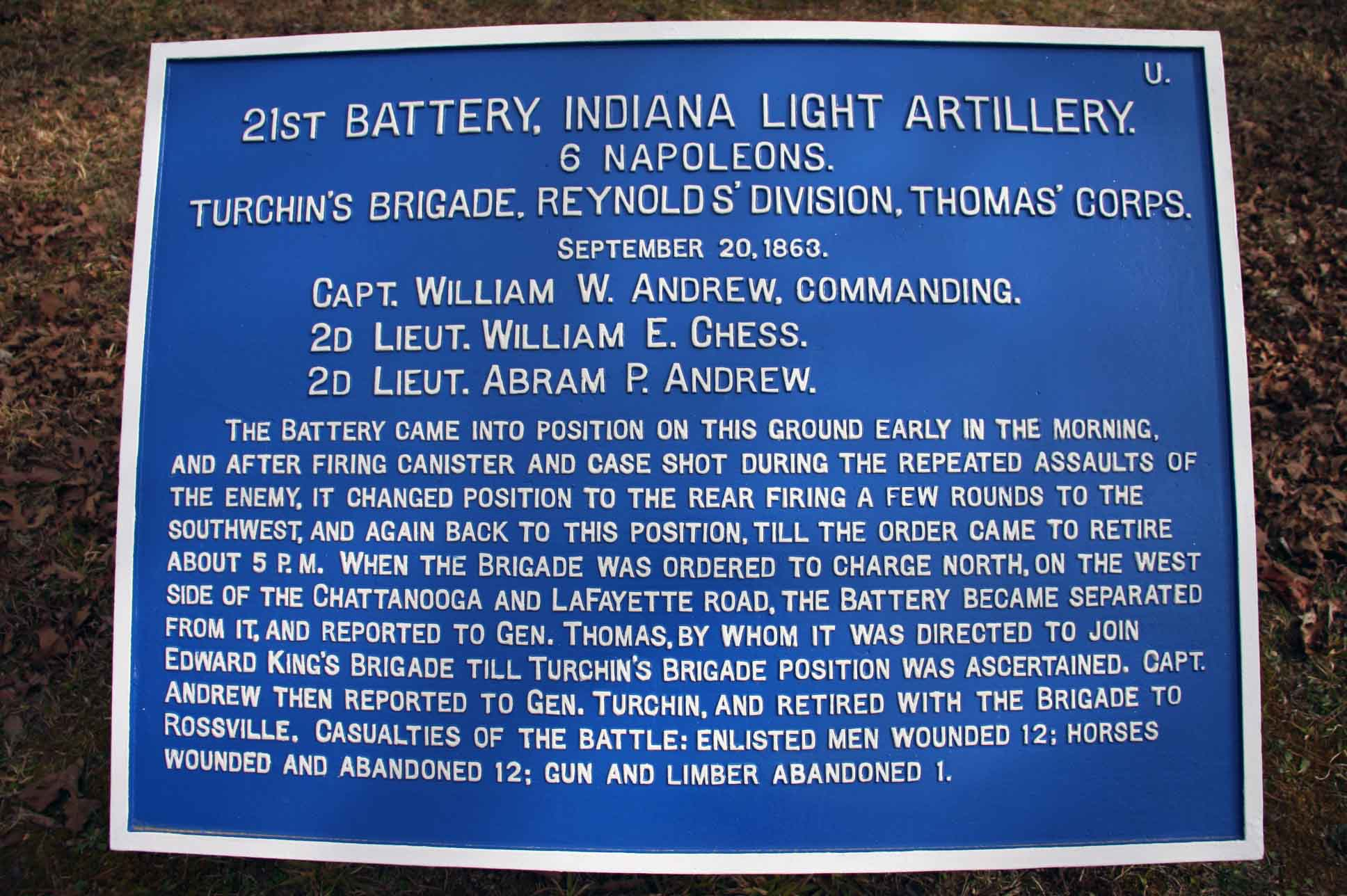 21st Battery, Indiana Light Artillery Plaque, click photo to enlarge.