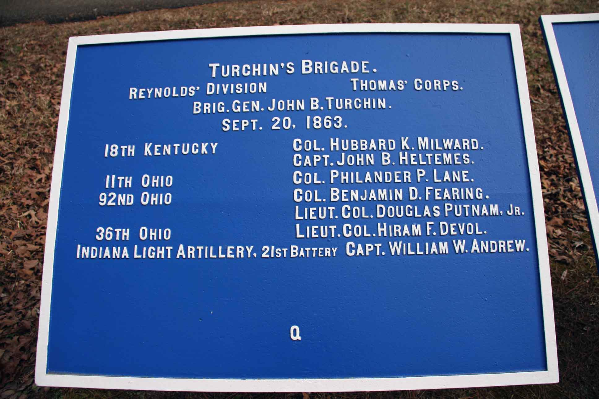 Turchin's Brigade Plaque, click photo to enlarge.