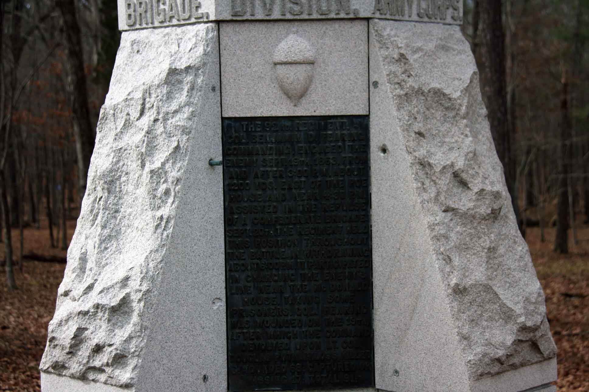 92nd Ohio Infantry Monument, click photo to enlarge.