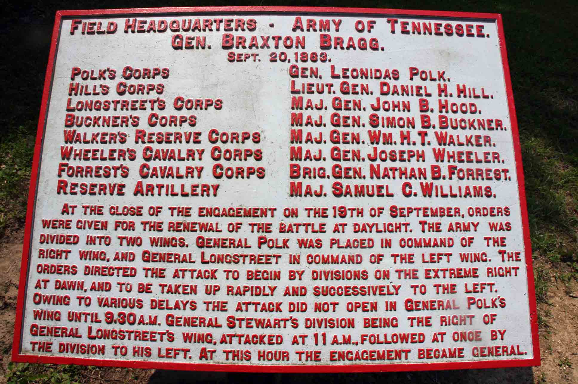 Field Headquarters - Army of Tennessee Tablet, click photo to enlarge.