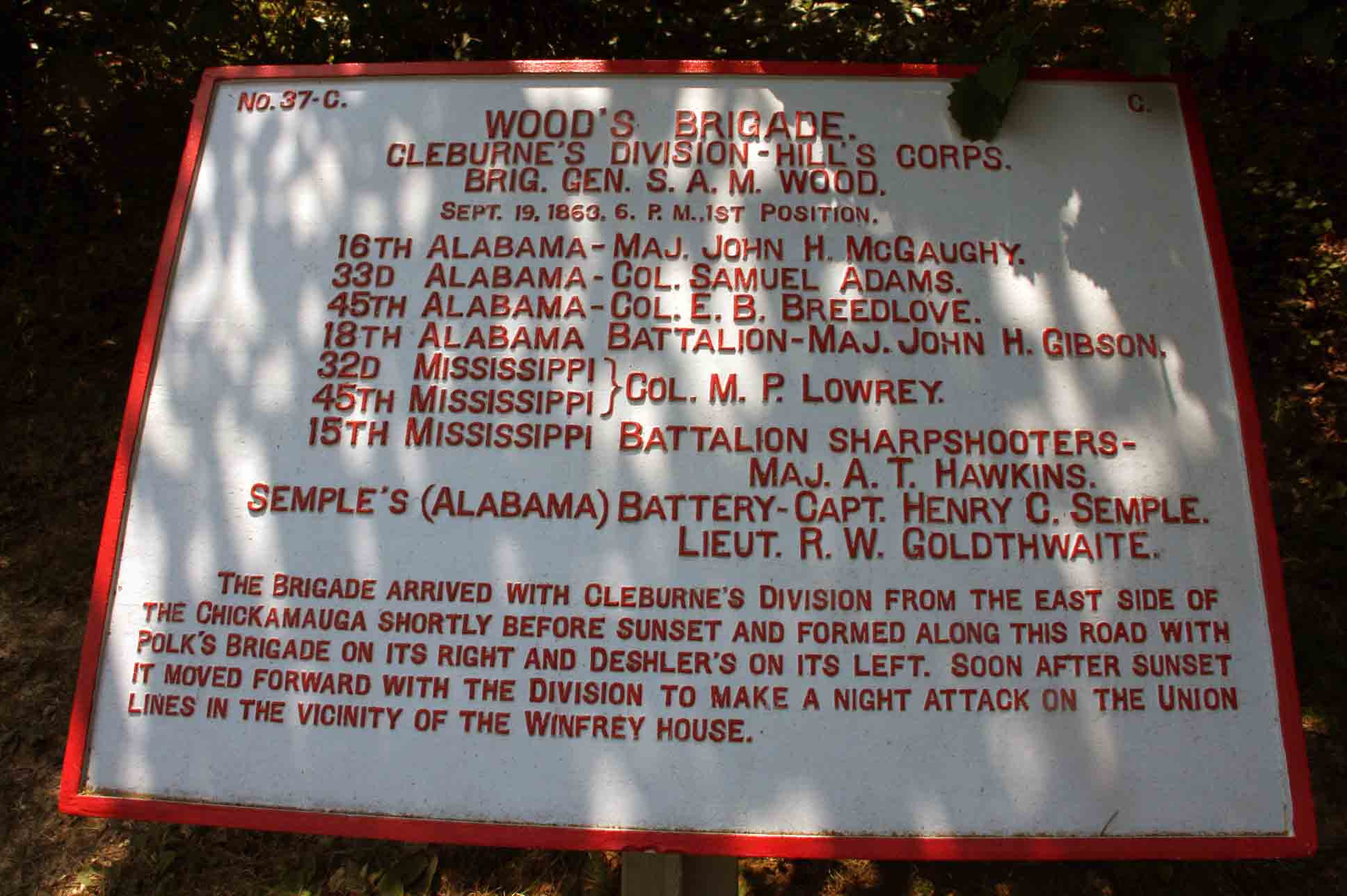 Wood's Brigade Tablet, click photo to enlarge.