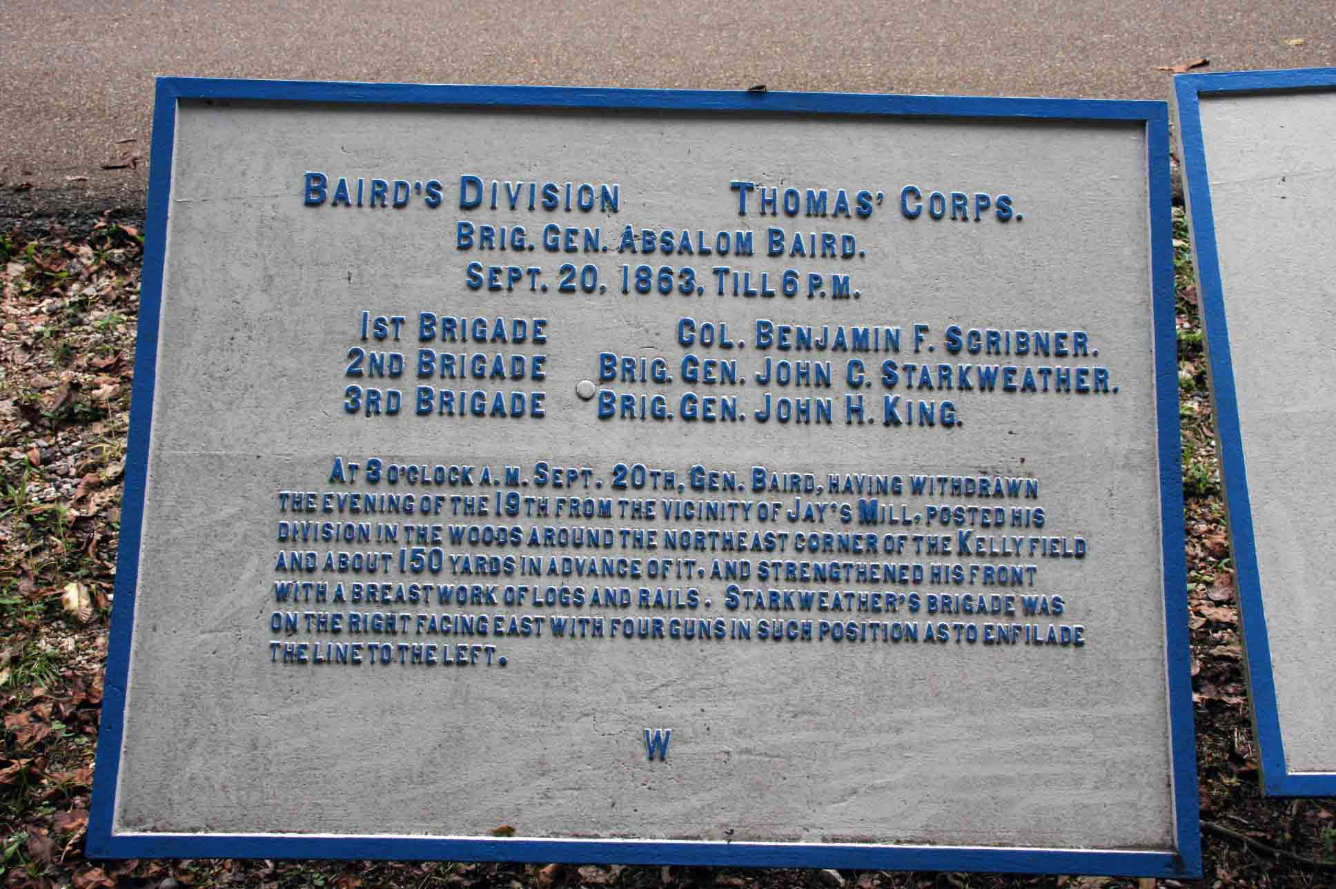 Baird's Division (USA) Tablet, click photo to enlarge.