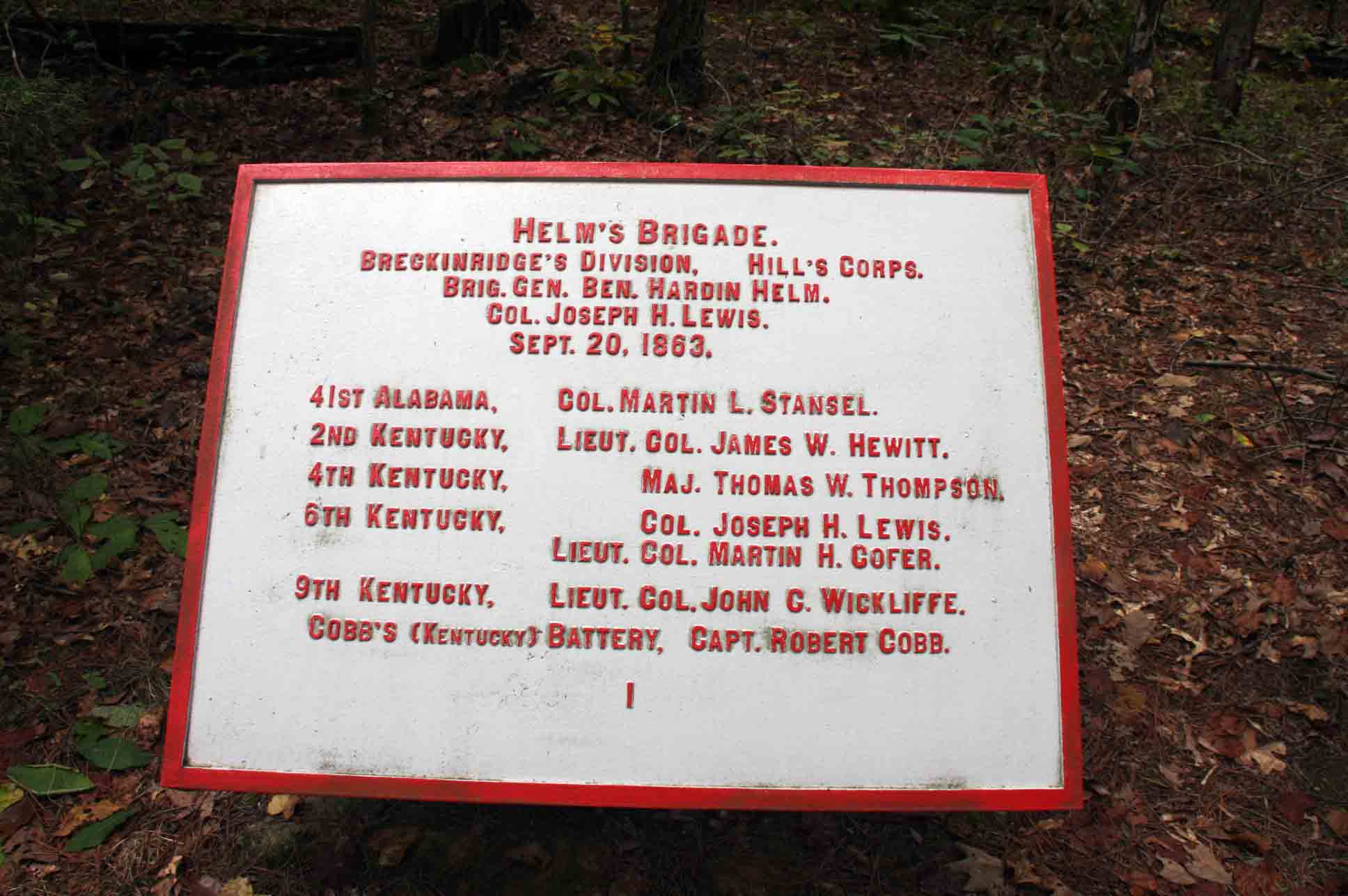 Helm's Brigade Tablet, click photo to enlarge.
