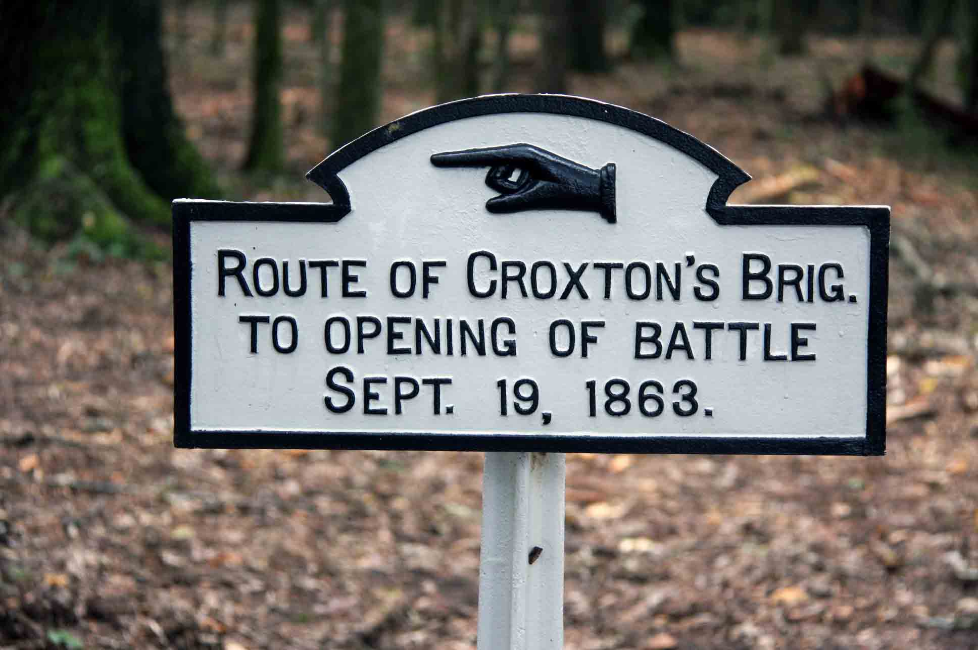 Route of Croxton's Brigade Sign, click photo to enlarge.