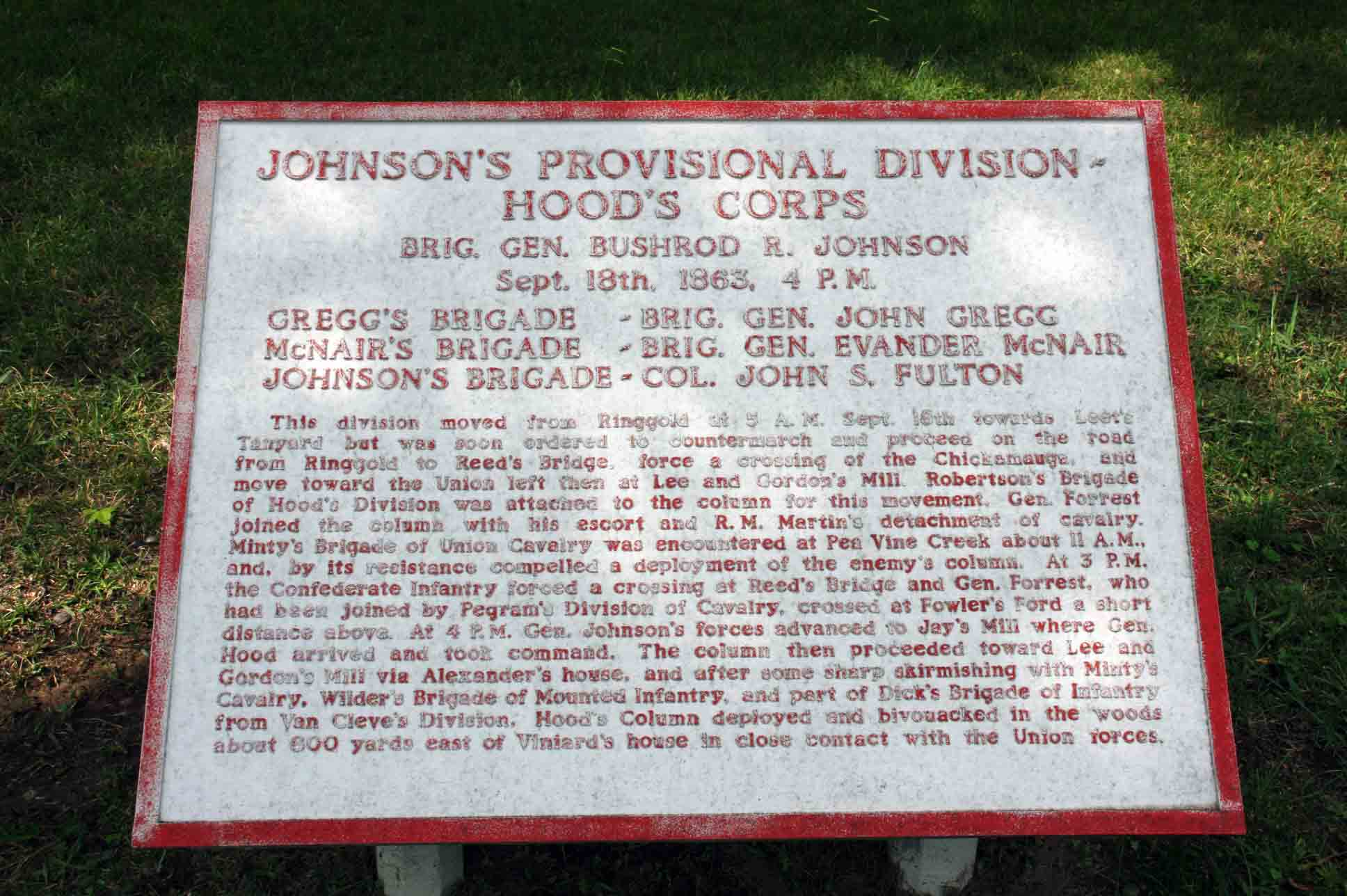 Johnson's Provisional Division Tablet, click photo to enlarge.