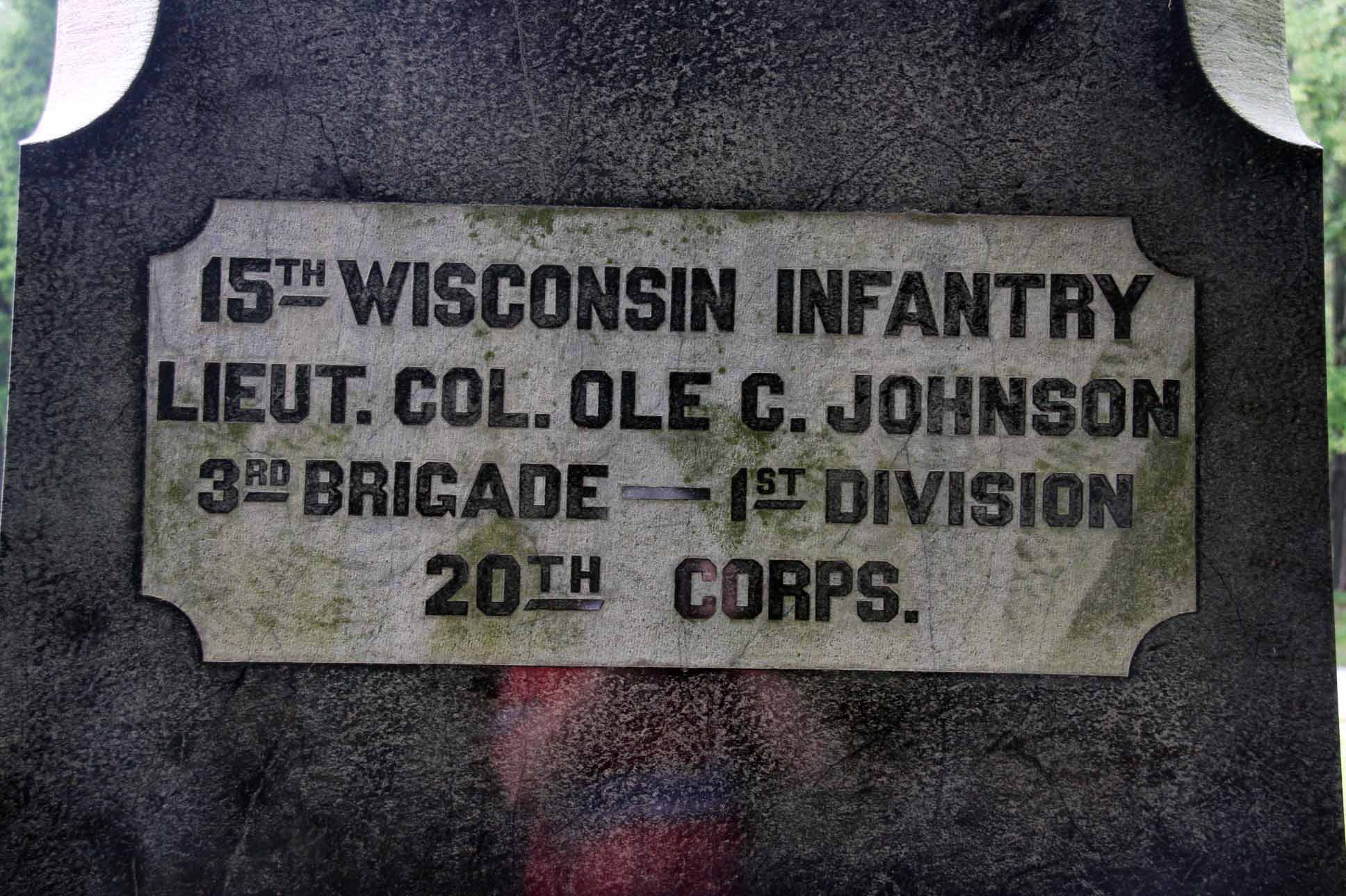 15th Wisconsin Infantry Regiment Monument, click photo to enlarge.