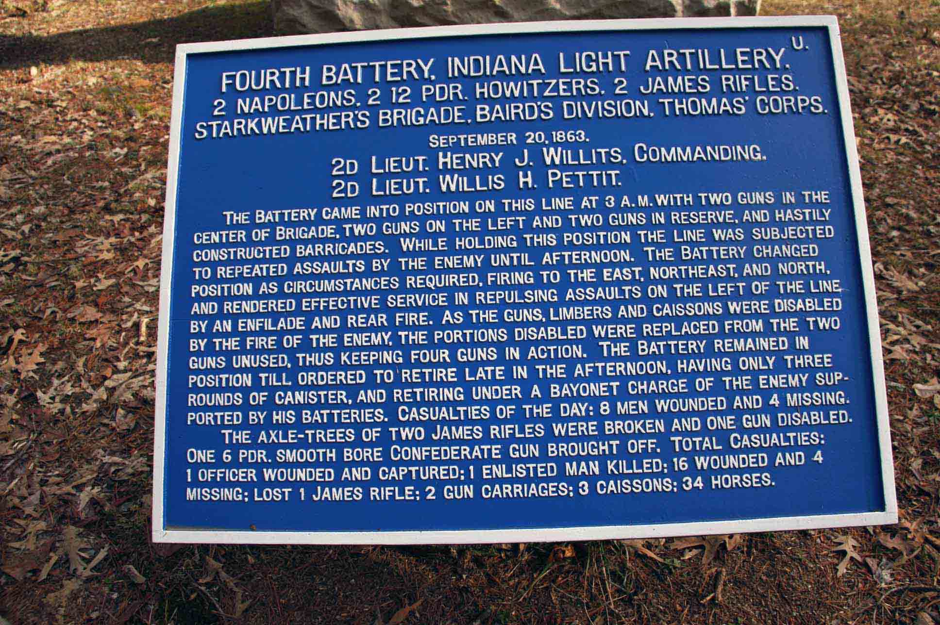 Fourth Battery, Indiana Light Artillery Tablet, click photo to enlarge.
