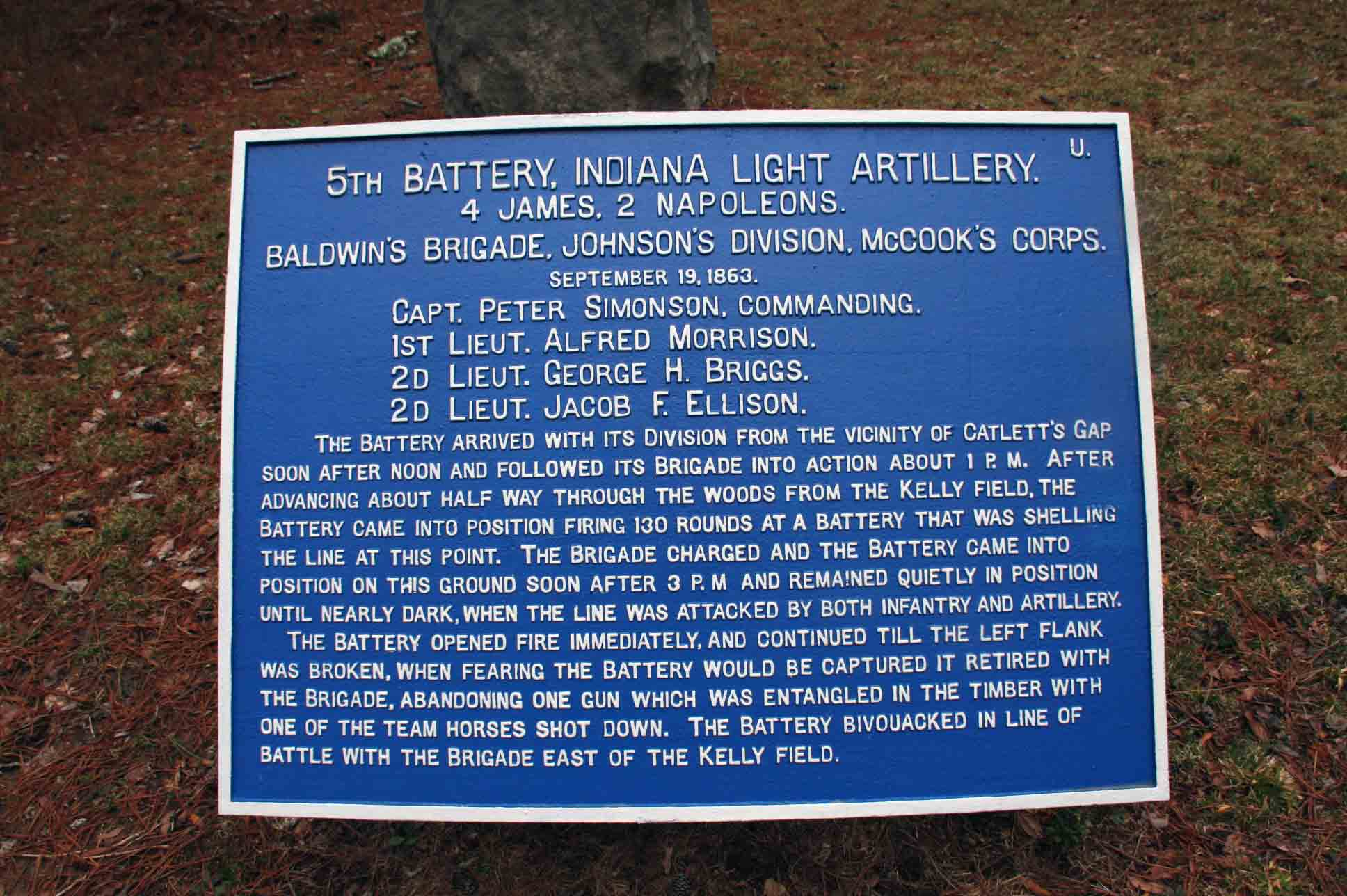 5th Indiana Battery Tablet, click photo to enlarge.