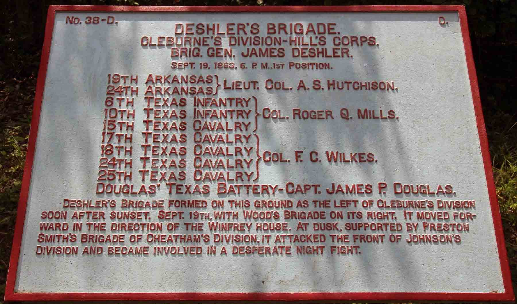 Deshler's Brigade Plaque, click photo to enlarge.