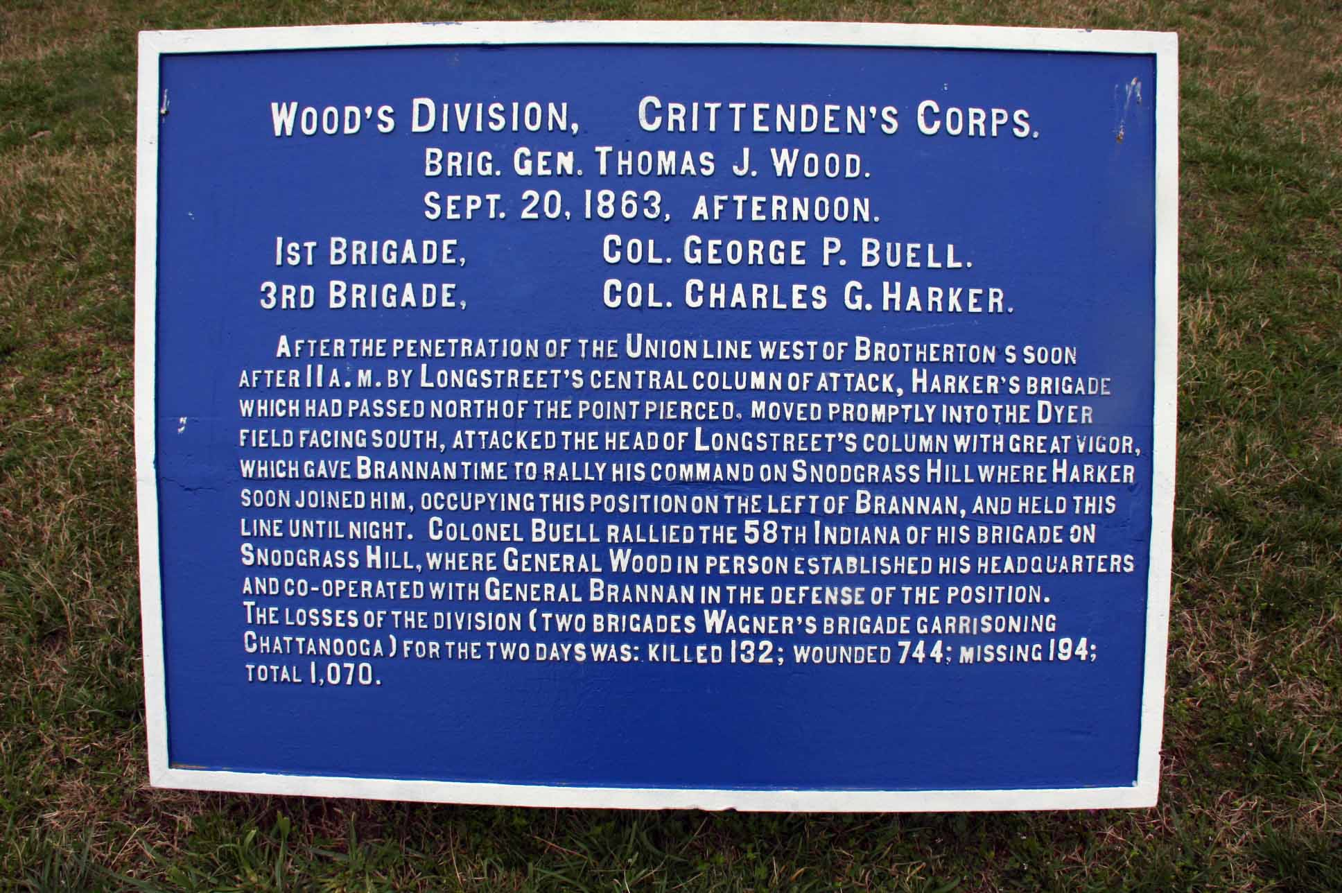 Wood's Division, Crittenden's Corps. Tablet, click photo to enlarge.