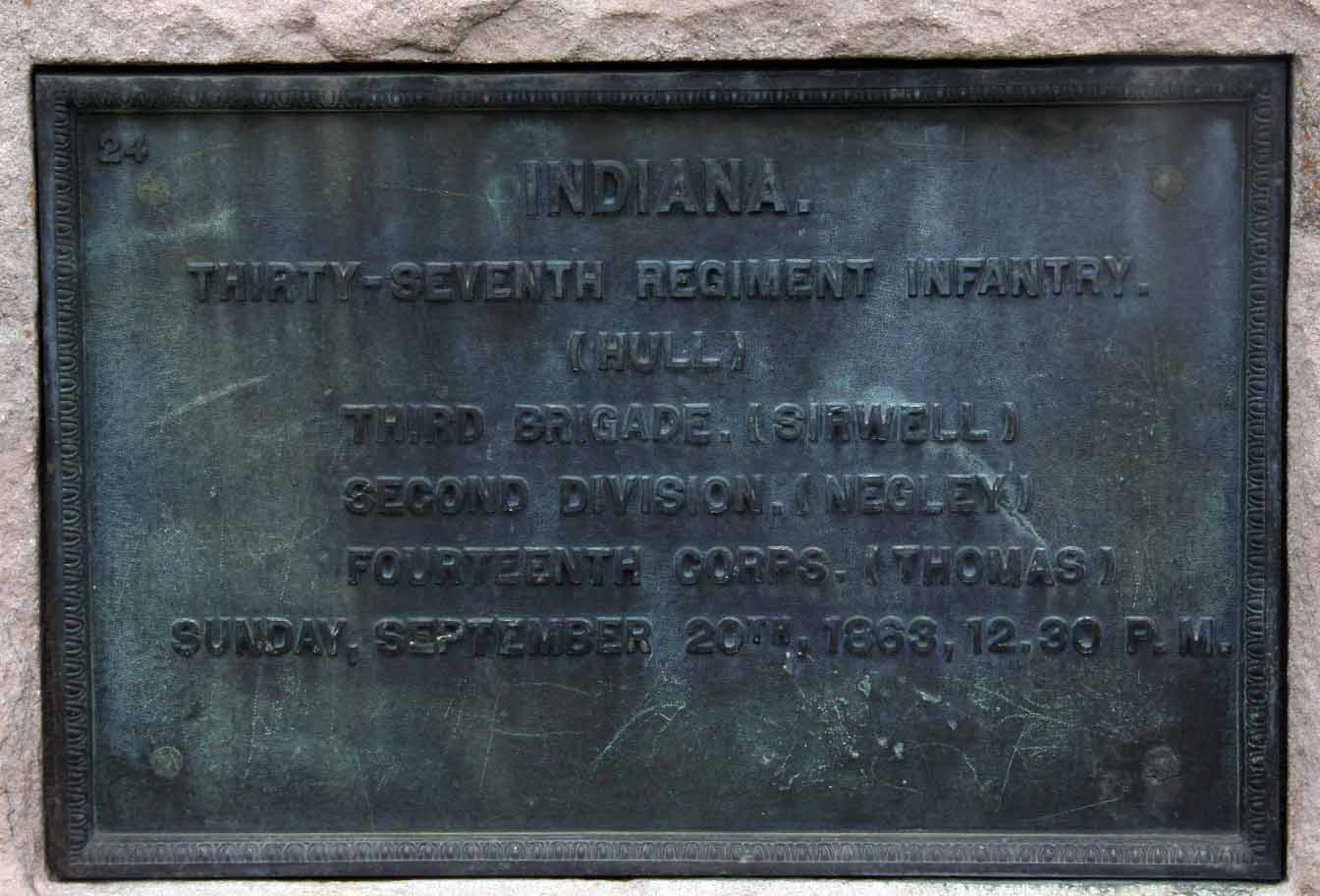 37th Indiana Infantry Regiment Marker, click photo to enlarge.