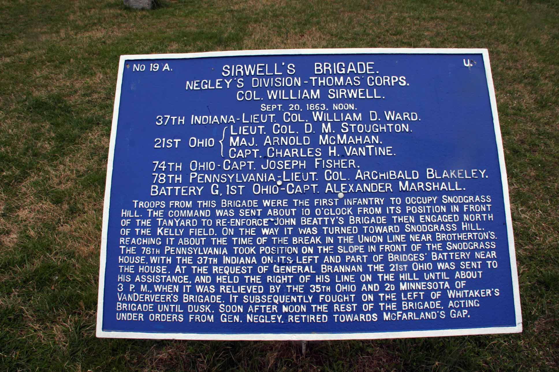 Sirwell's Brigade (USA) Tablet, click photo to enlarge.