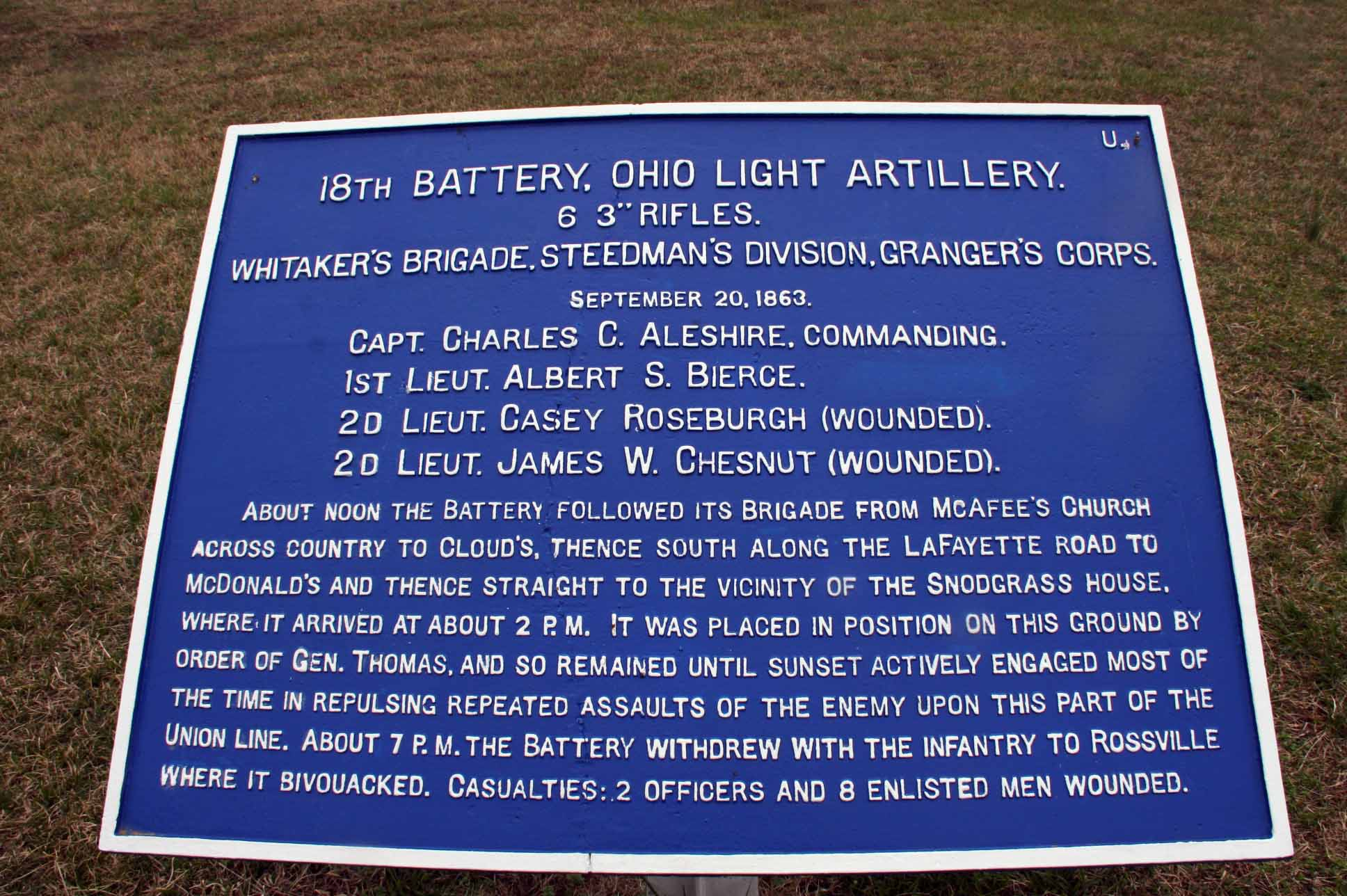 18th Ohio Light Artillery Tablet, click photo to enlarge.