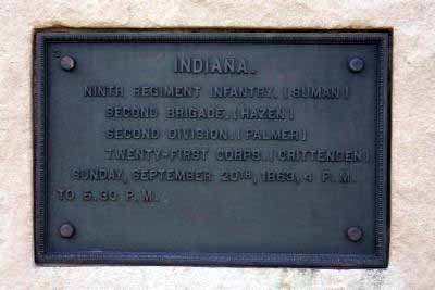 9th Indiana Infantry Regiment Marker, click photo to enlarge.