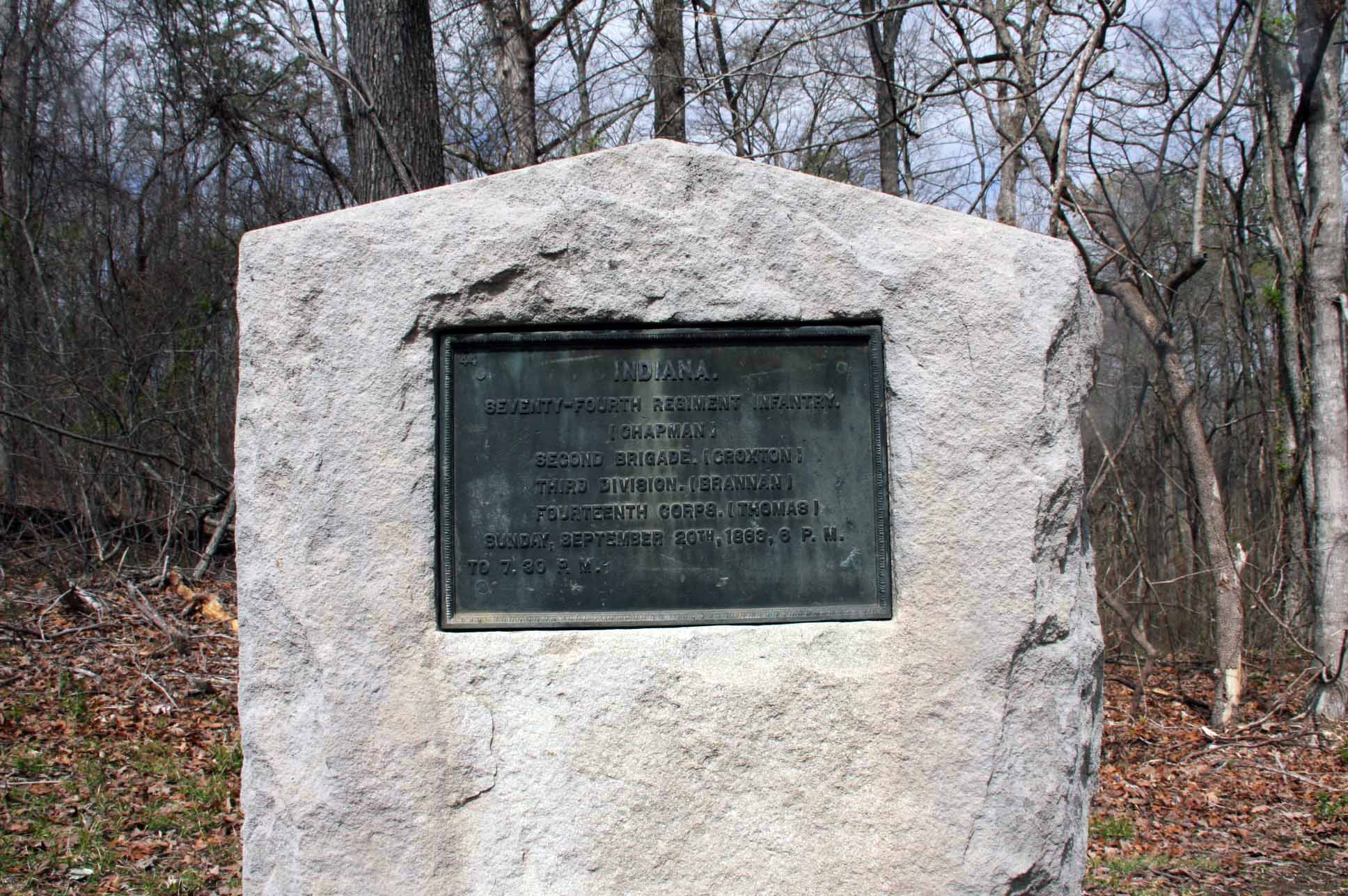 74th Indiana Infantry Regiment Marker, click photo to enlarge.