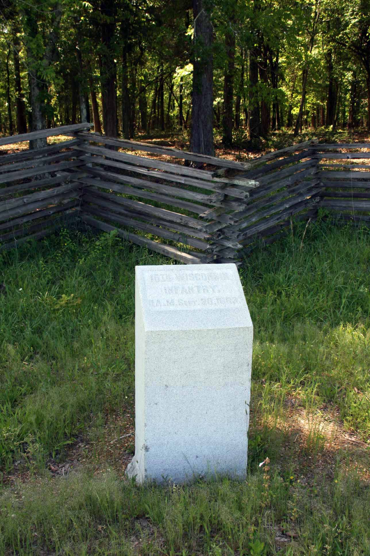15th Wisconsin Infantry Marker, click photo to enlarge.
