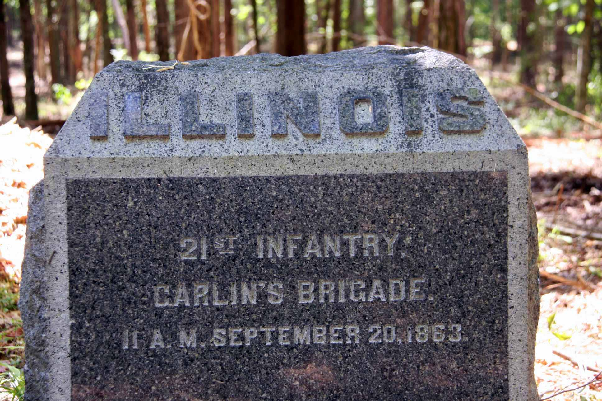 21st Illinois Infantry Regiment Marker, click photo to enlarge.