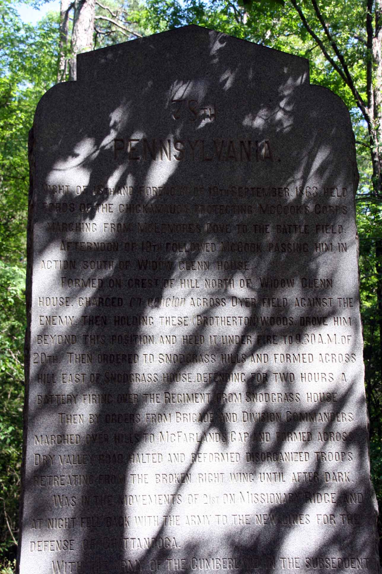 78th Pennsylvania Infantry Monument, click photo to enlarge.