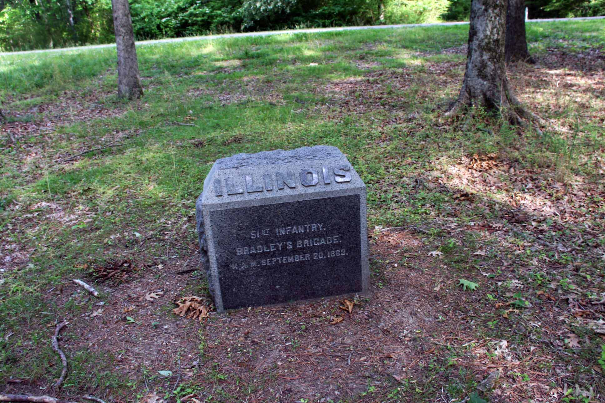 51st Illinois Infantry Marker, click photo to enlarge.