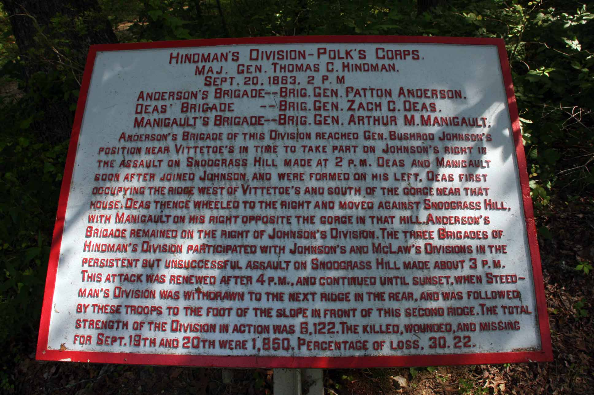 Hindman's Division Tablet, click photo to enlarge.