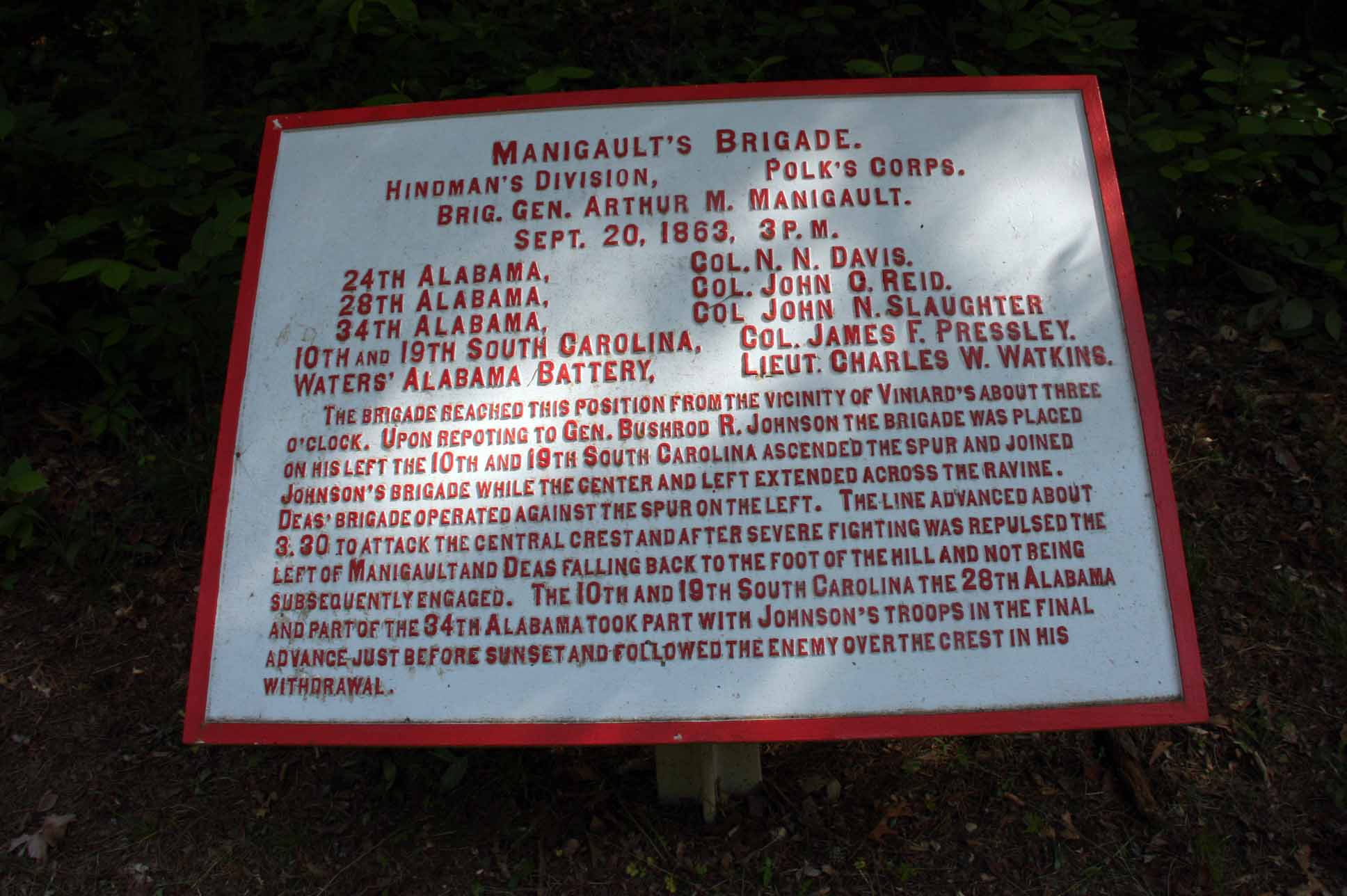 Manigault's Brigade Tablet, click photo to enlarge.