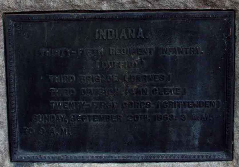 35th Indiana Infantry Regiment Marker, click photo to enlarge.