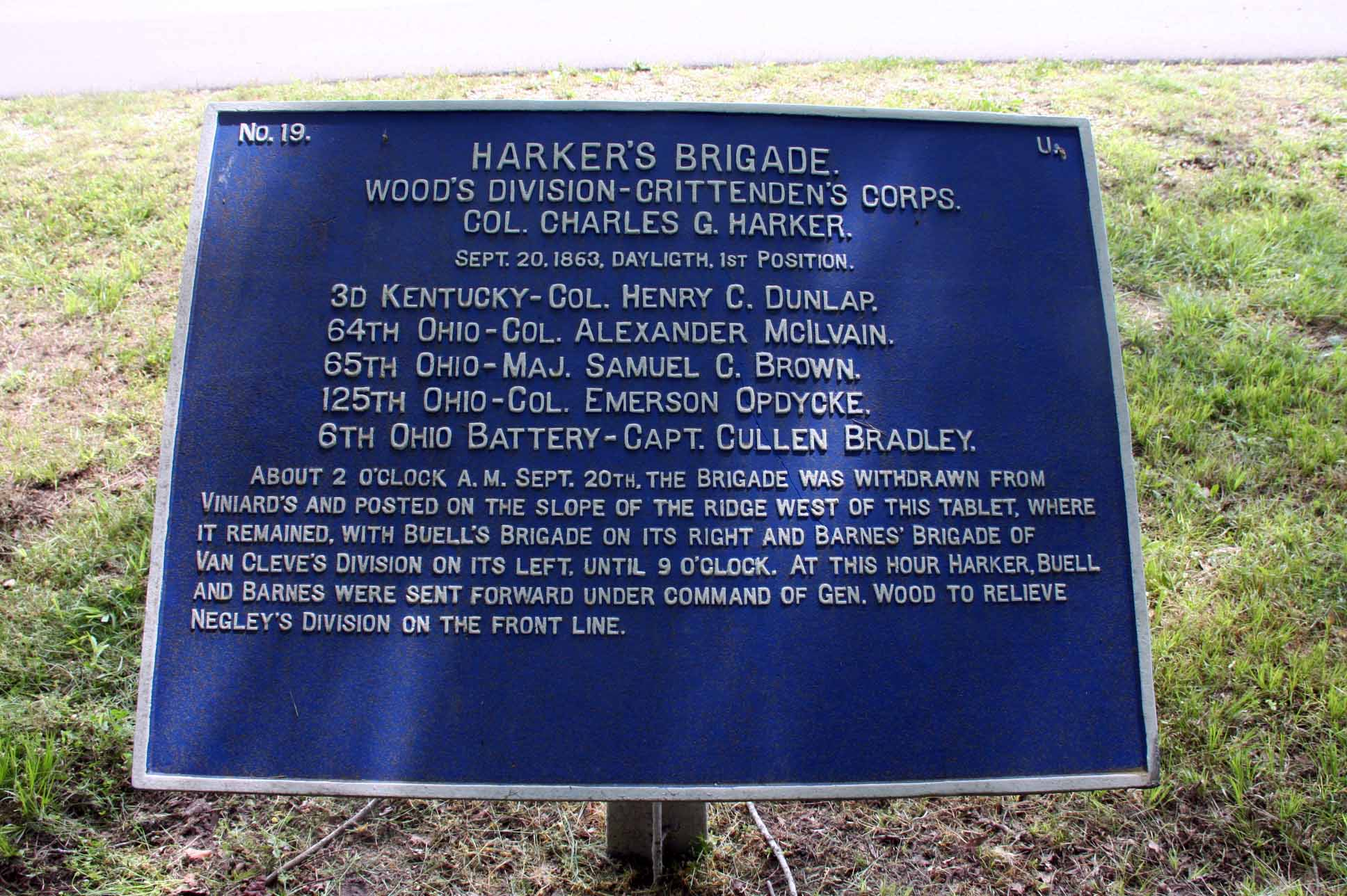 Harker's Brigade Tablet, click photo to enlarge.