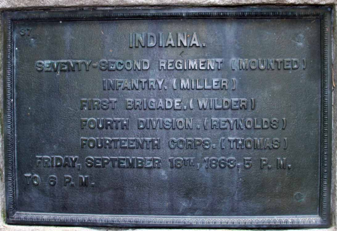 72nd Indiana Mounted Infantry Regiment Marker, click photo to enlarge.