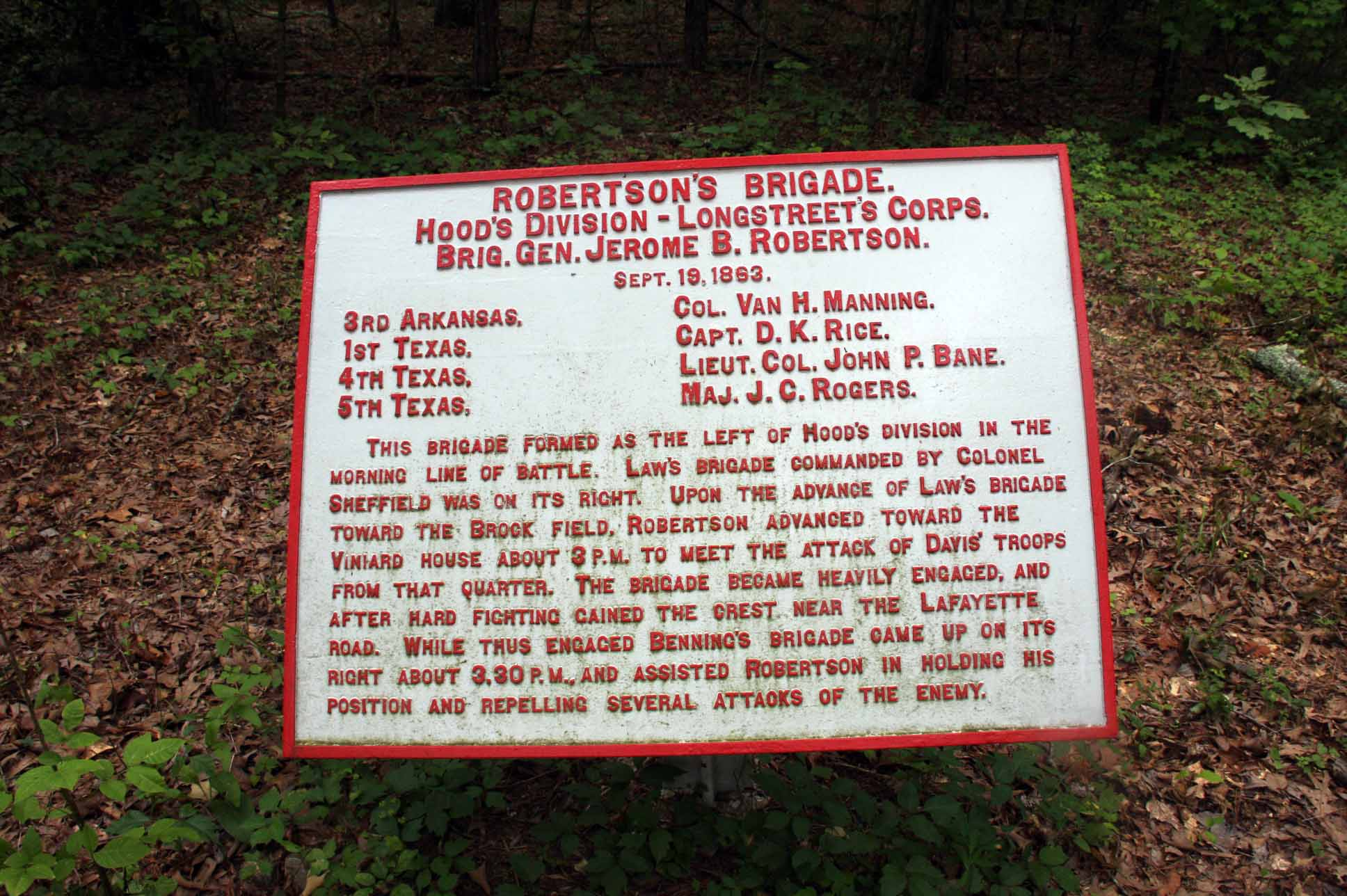 Robertson's Brigade Tablet, click photo to enlarge.